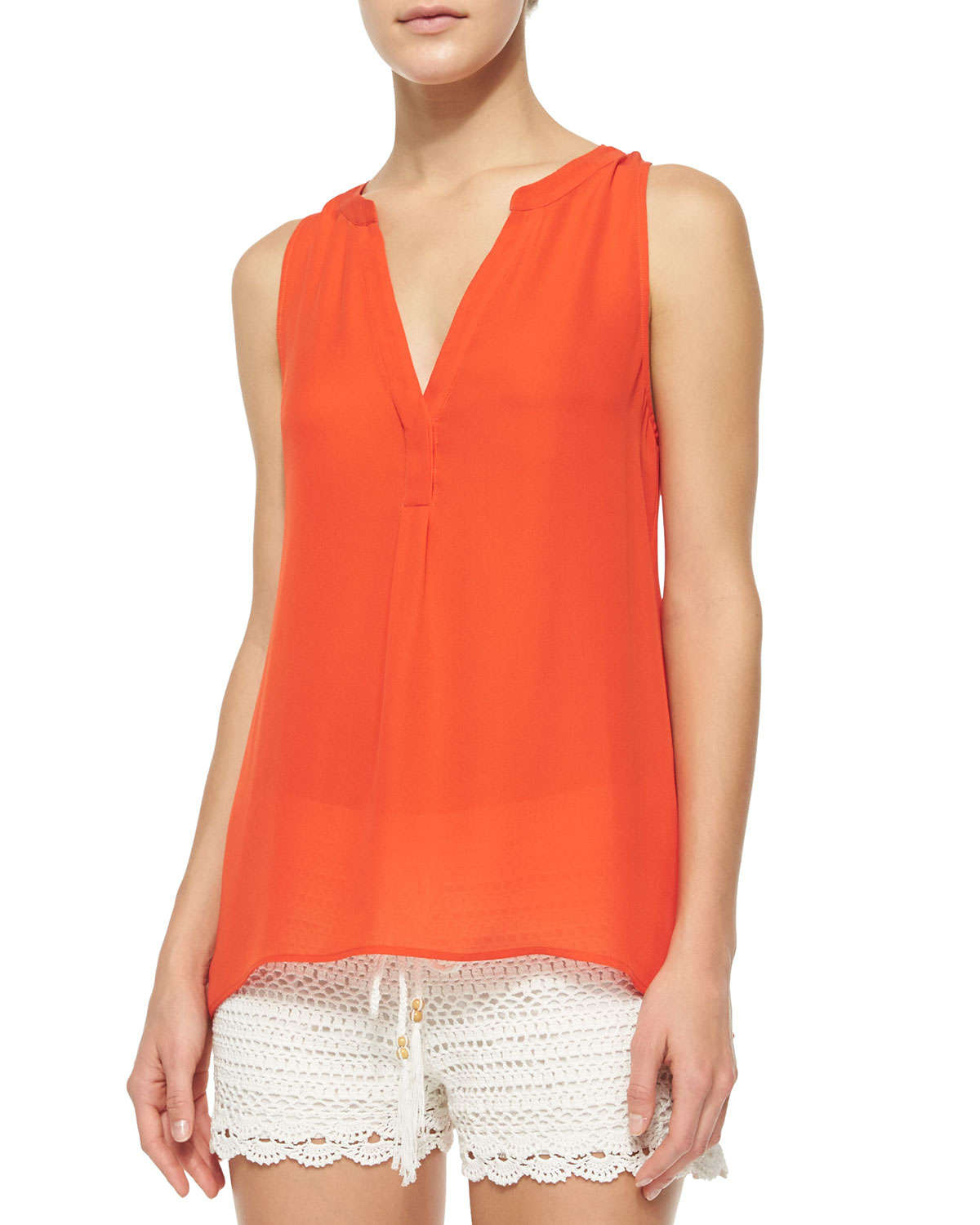 Joie Sleeveless Silk Turtleneck Blouse 26