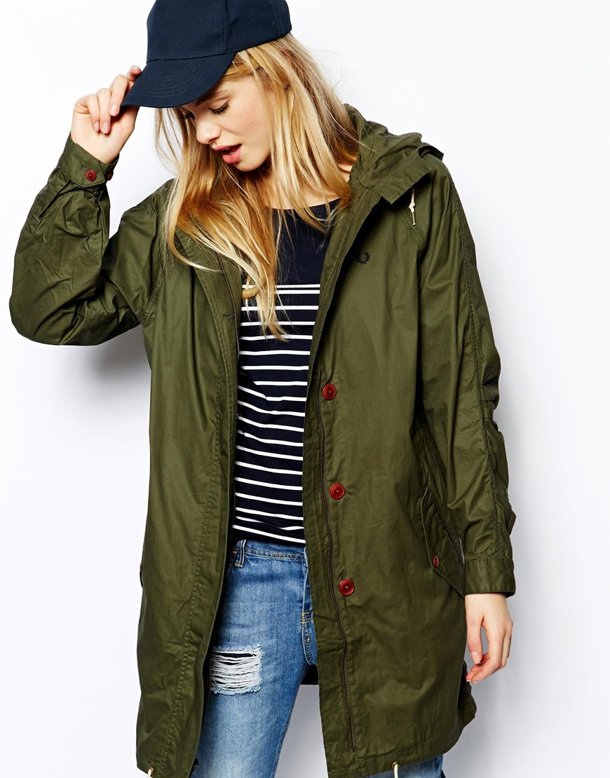 fred perry parka in green lyst. Black Bedroom Furniture Sets. Home Design Ideas