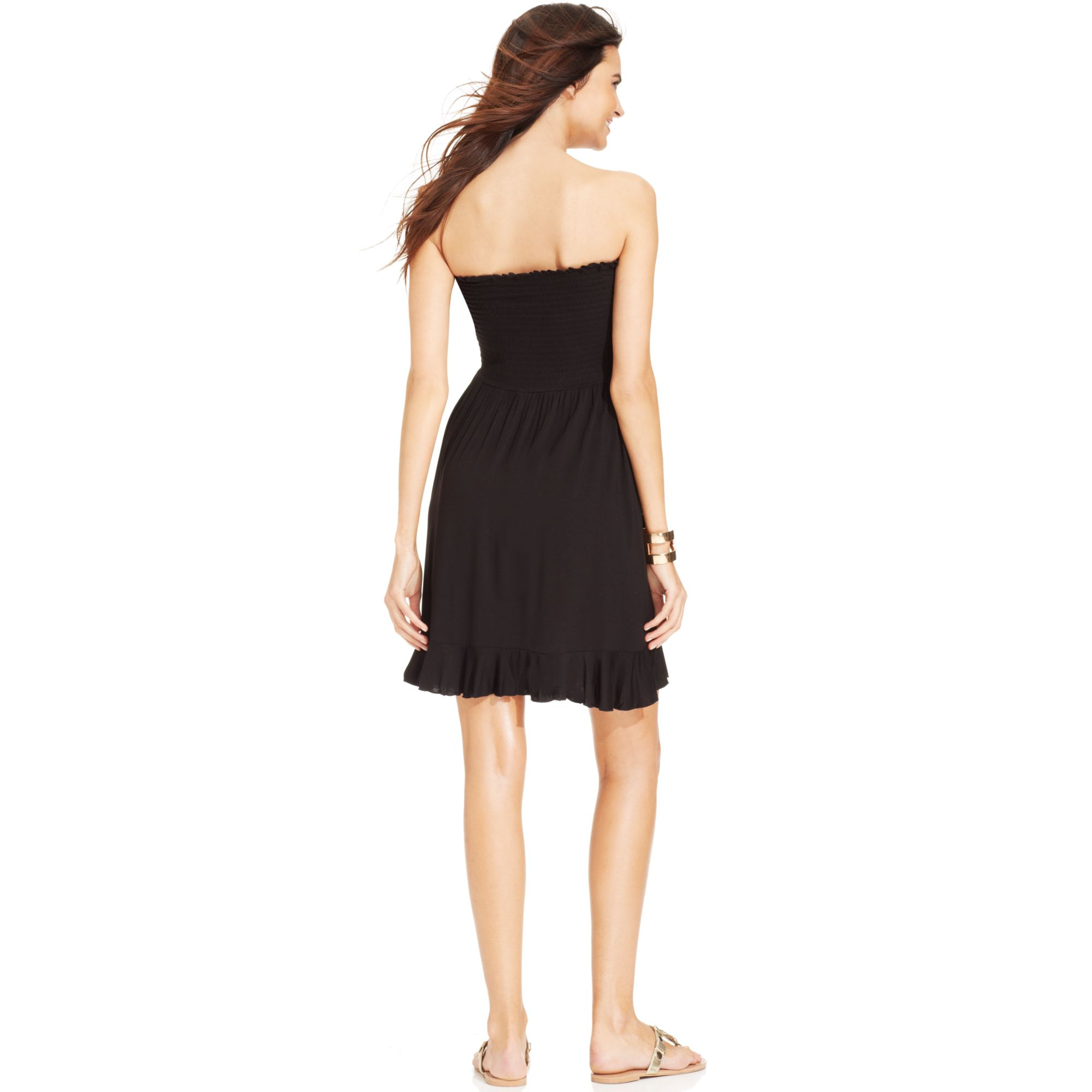 e2724f1233d07 Dotti Strapless Smocked Coverup Dress in Black - Lyst