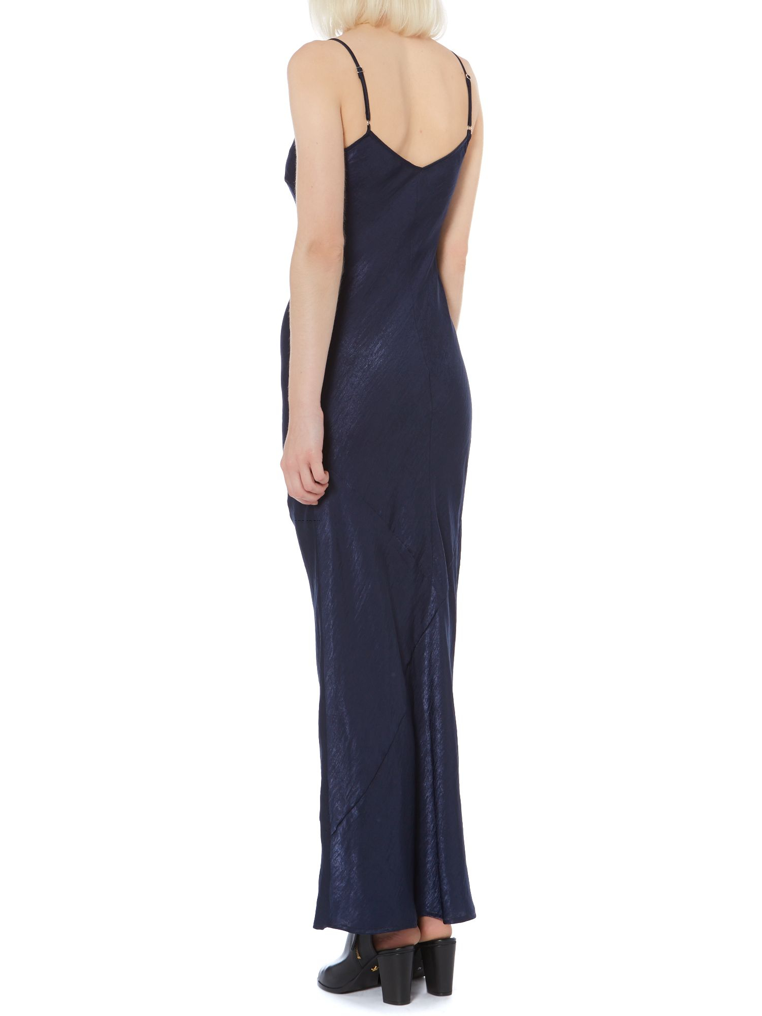 Label lab Hammered Satin Maxi Slip Dress in Blue  Lyst