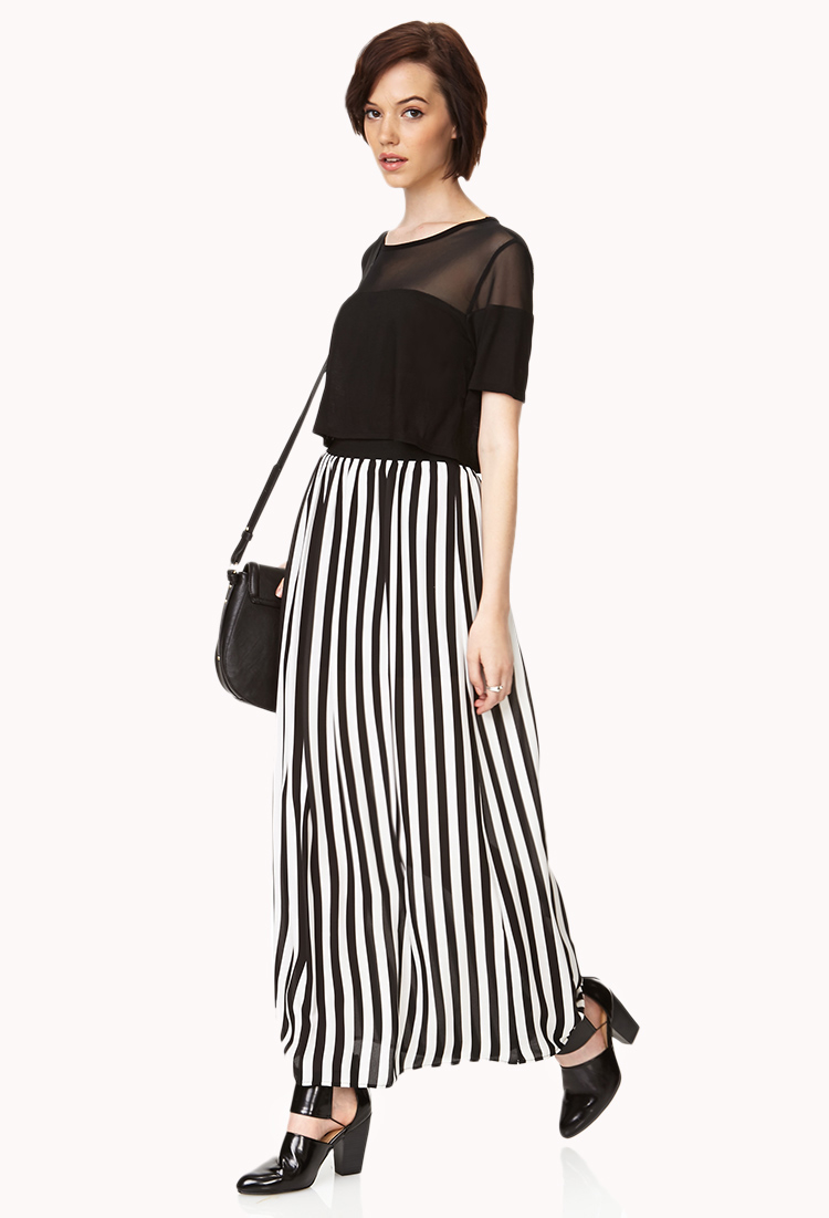 Forever 21 Darling Striped Maxi Skirt in Black | Lyst