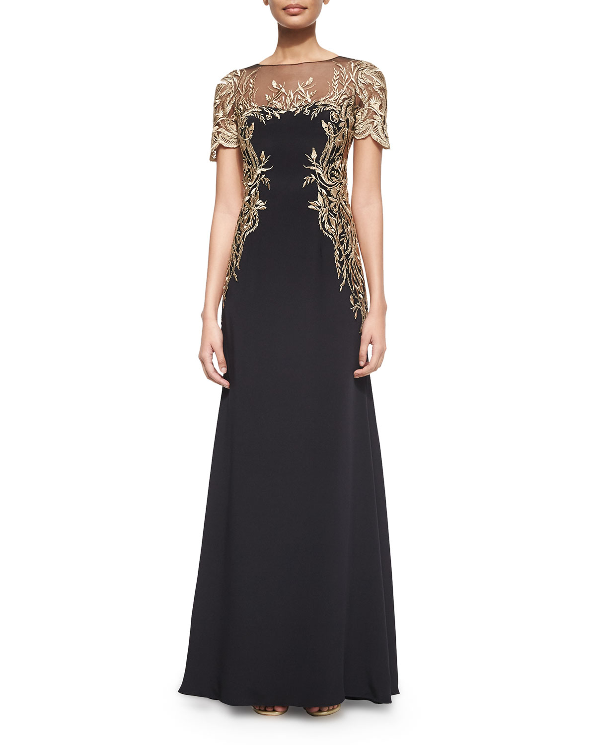 lyst notte by marchesa a line embroidered gown in blue