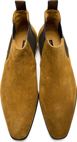 Ps By Paul Smith Camel Suede Falconer Chelsea Boots In