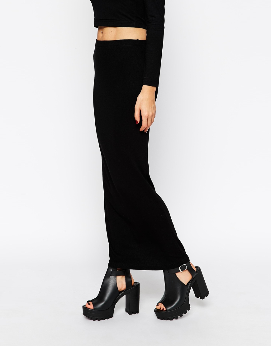 Asos Maxi Pencil Skirt In Rib in Black | Lyst