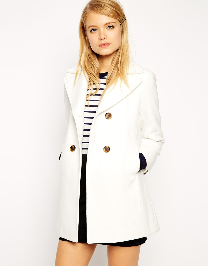 Asos Pea Coat With Vintage Detail In Swing in White | Lyst