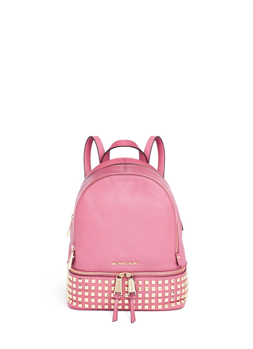 lyst michael kors 39 rhea 39 small stud leather backpack in pink. Black Bedroom Furniture Sets. Home Design Ideas