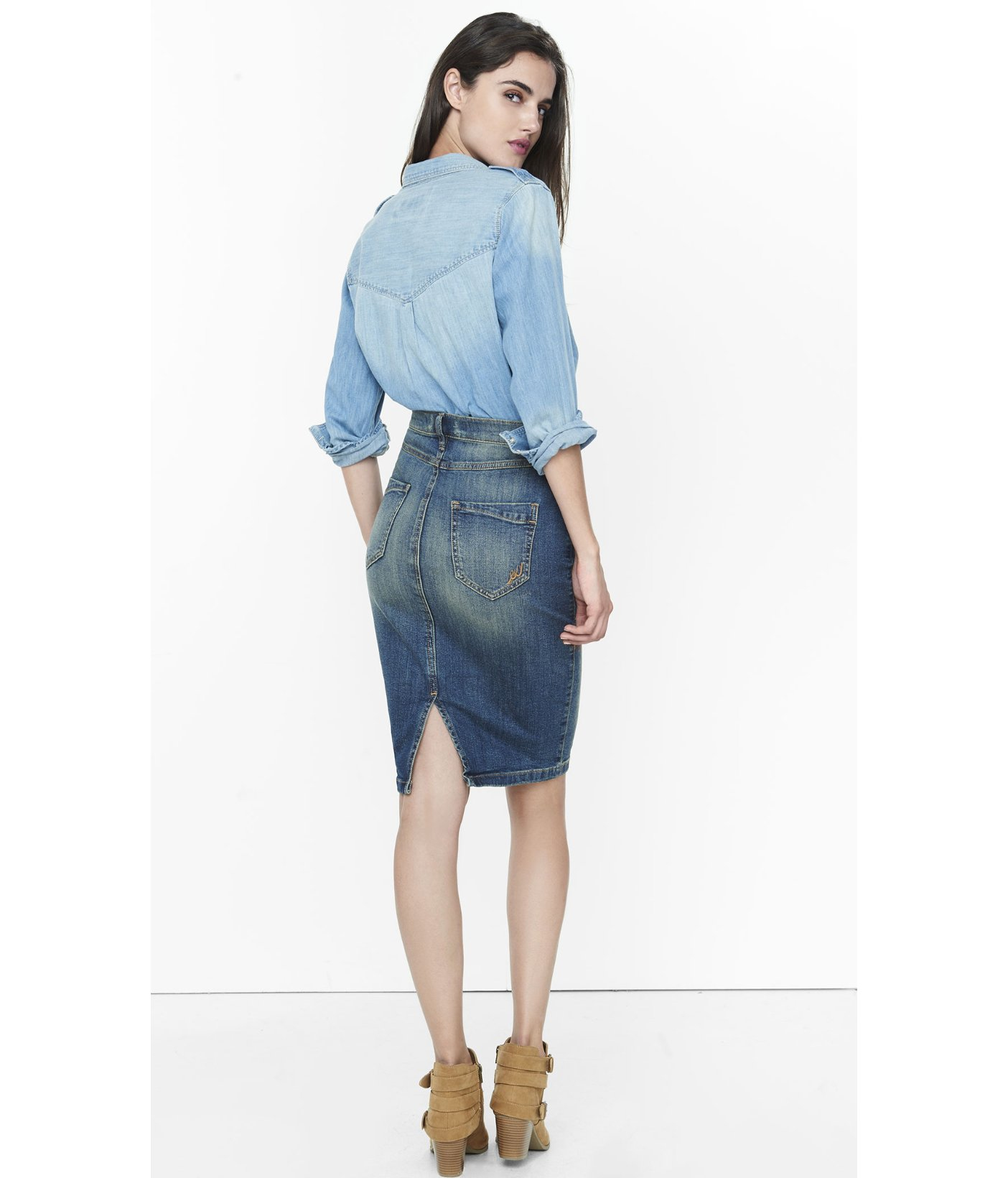 express distressed high waisted denim pencil skirt in blue