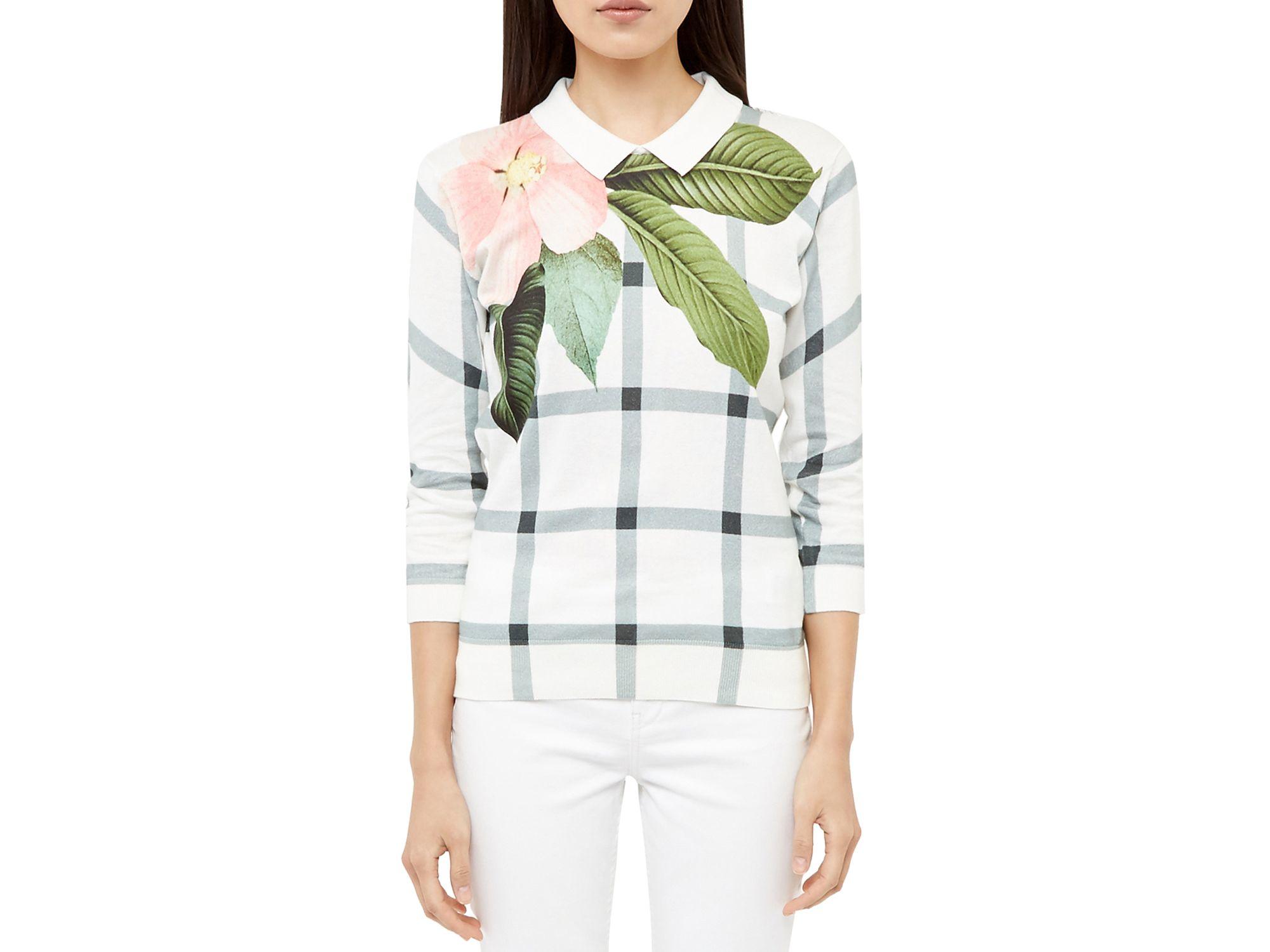cf52b85c59700 Lyst - Ted Baker Agneya Secret Trellis Sweater in White