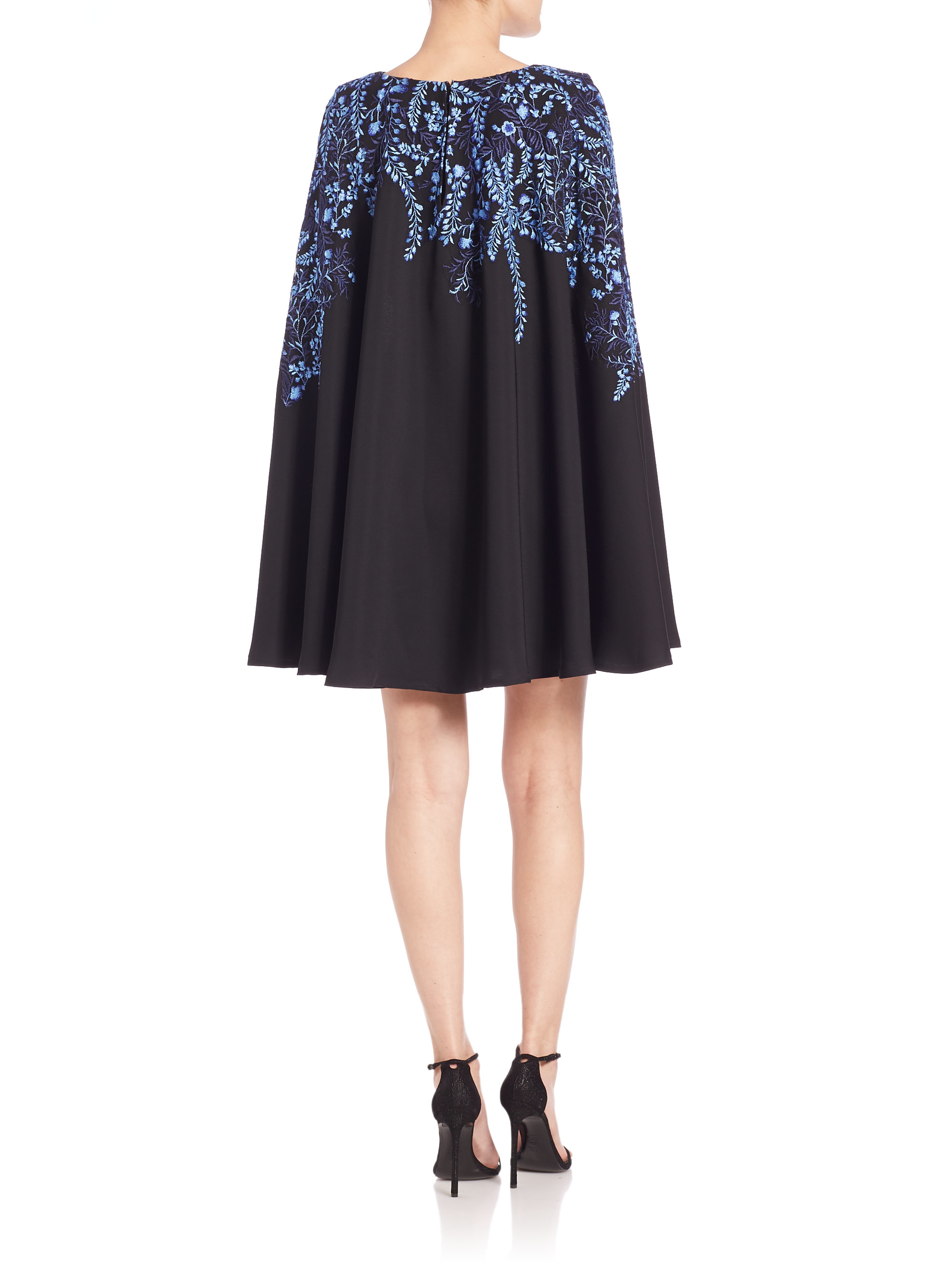 Lyst tadashi shoji floral embroidered cape dress in blue