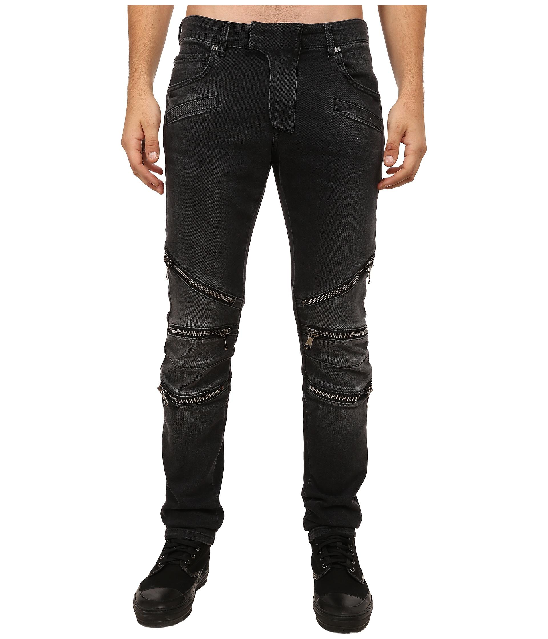 Balmain Zipper Jeans in Black for Men | Lyst