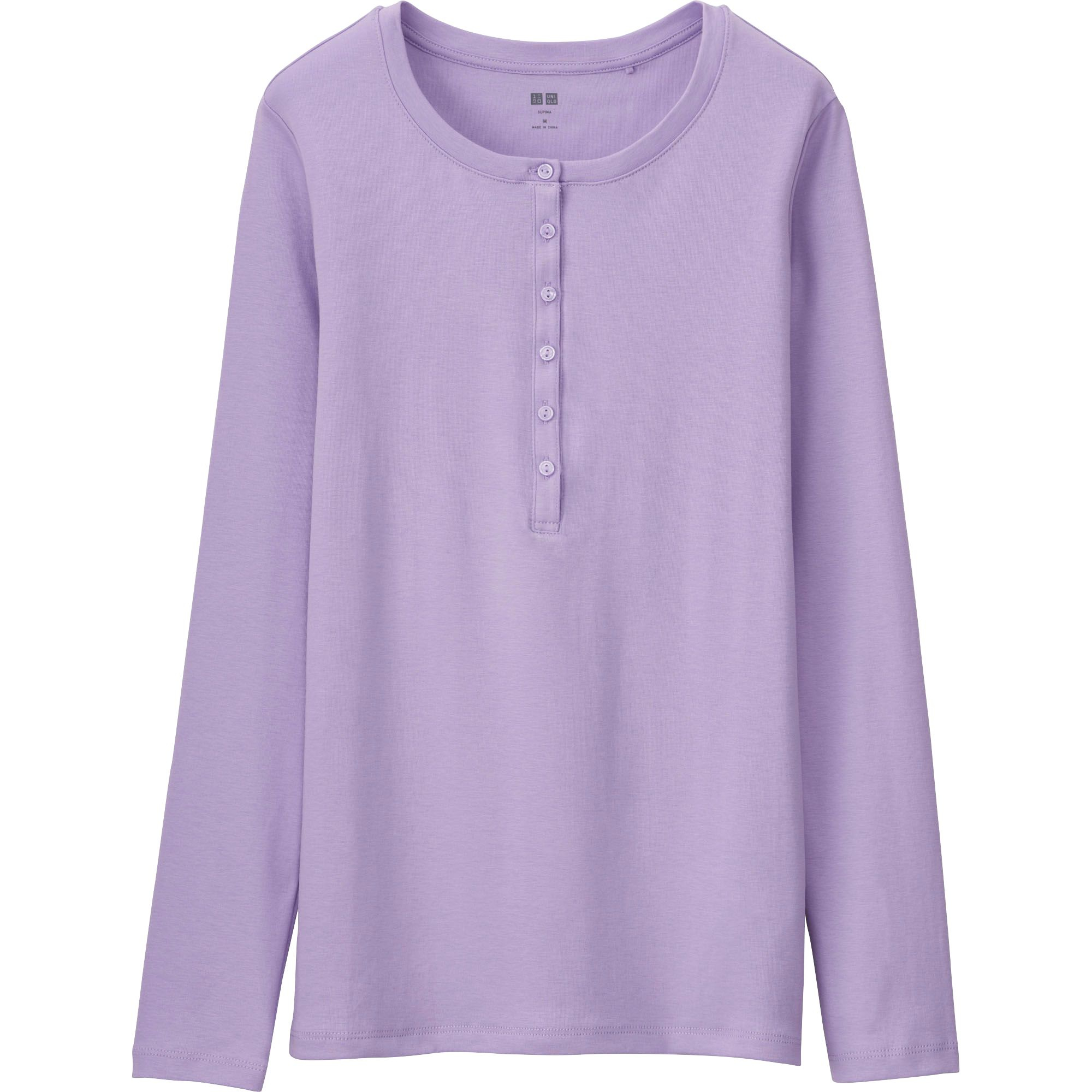 Uniqlo Women 39 S Supima R Cotton Long Sleeve Henley Neck T