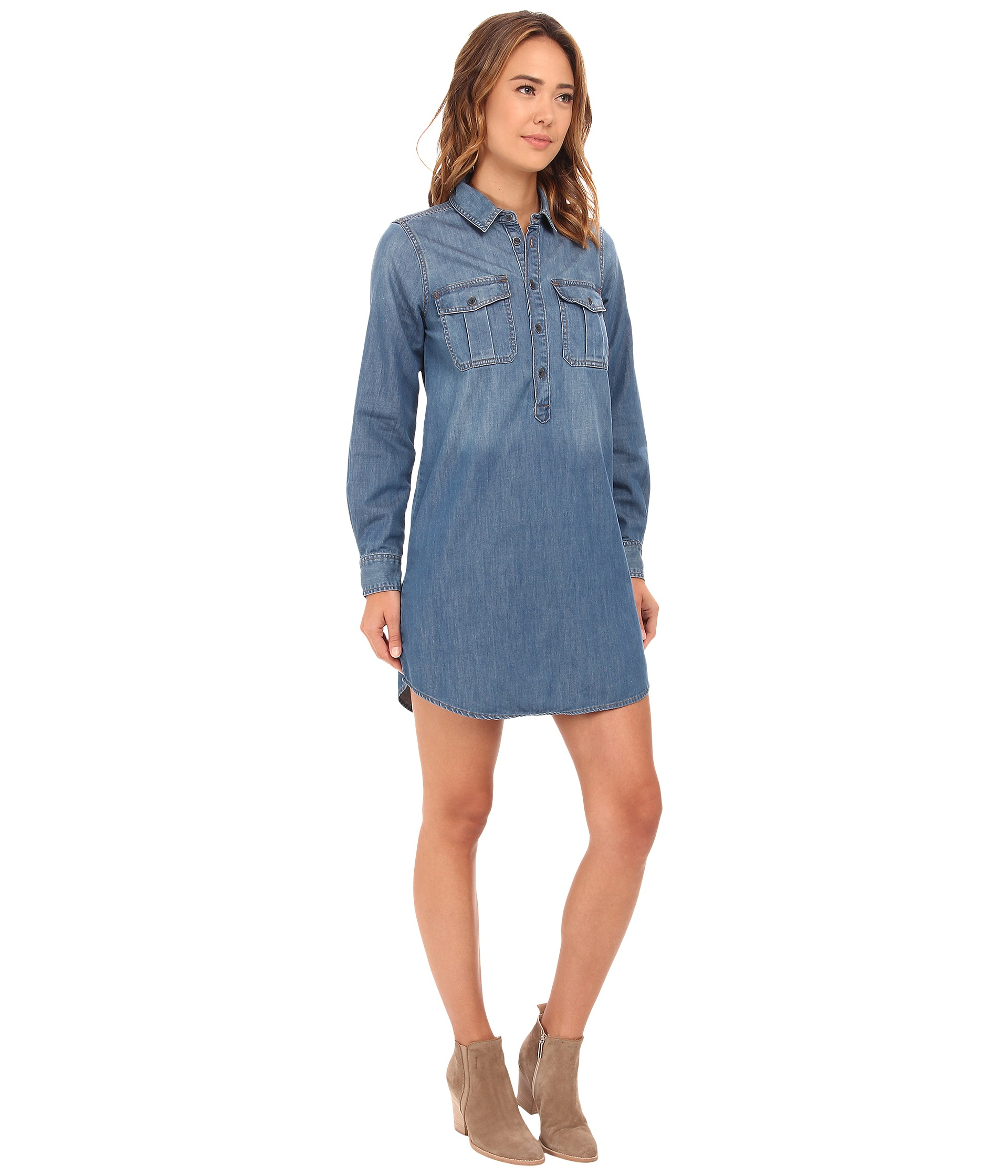 Lucky Brand Women/'s Popover Shirt Dress