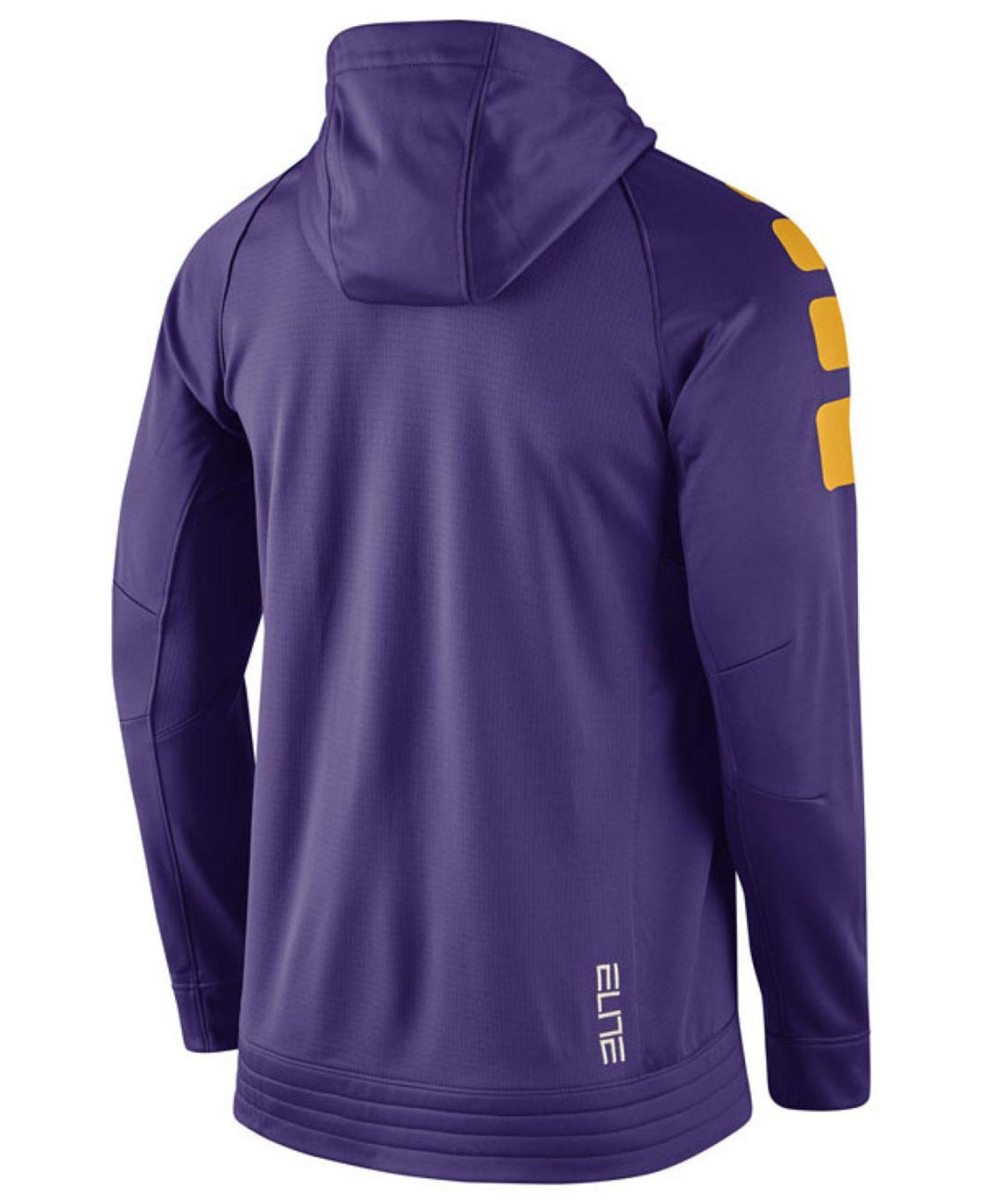 Purple Men's Lsu Tigers Elite Stripe Basketball Performance Full zip Hoodie