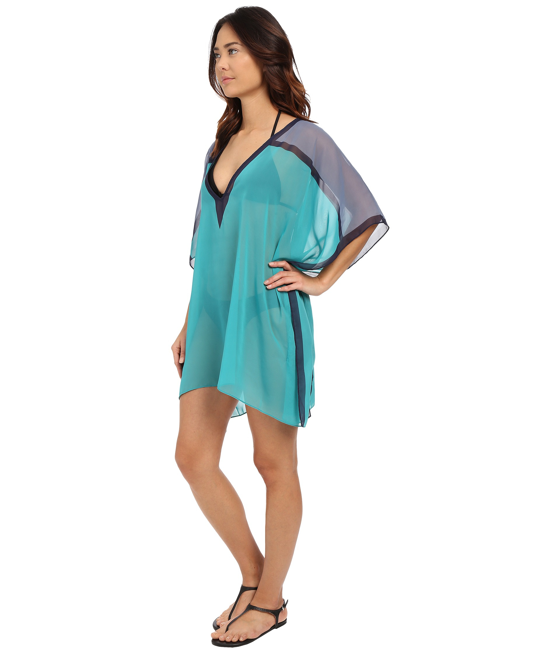 Women's Blue Street Cast Solids Color Blocked Kaftan Cover-up
