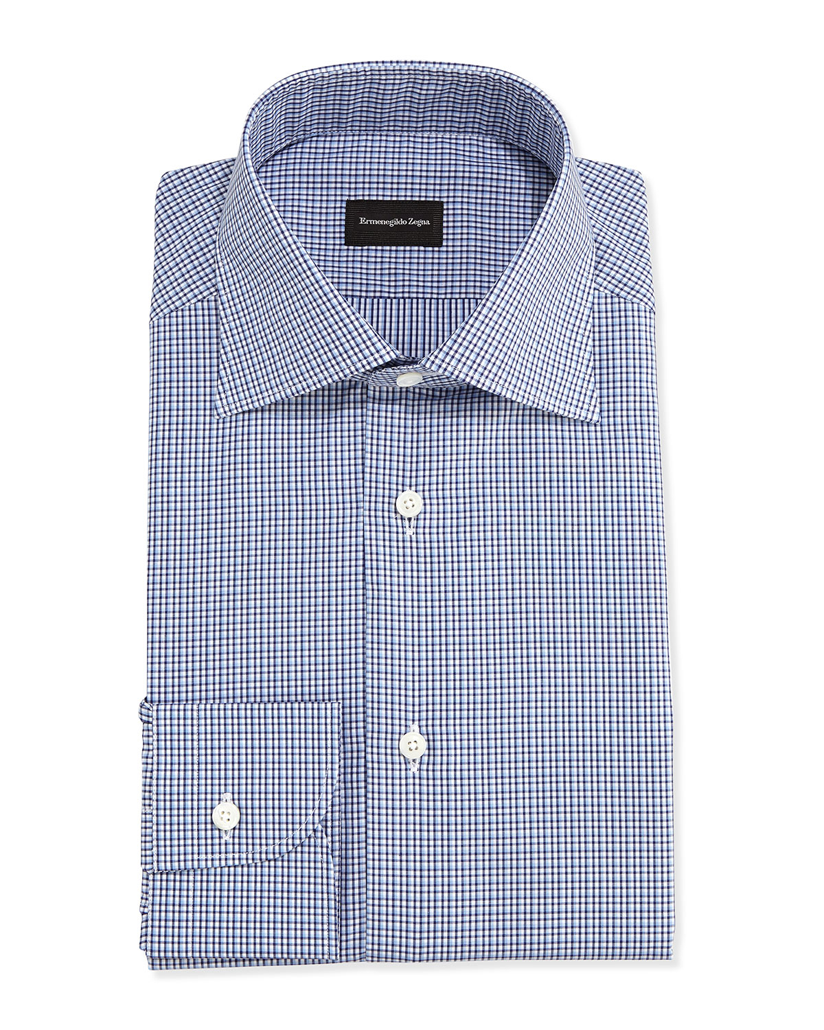 Ermenegildo zegna Tight-check Dress Shirt in Blue for Men ...