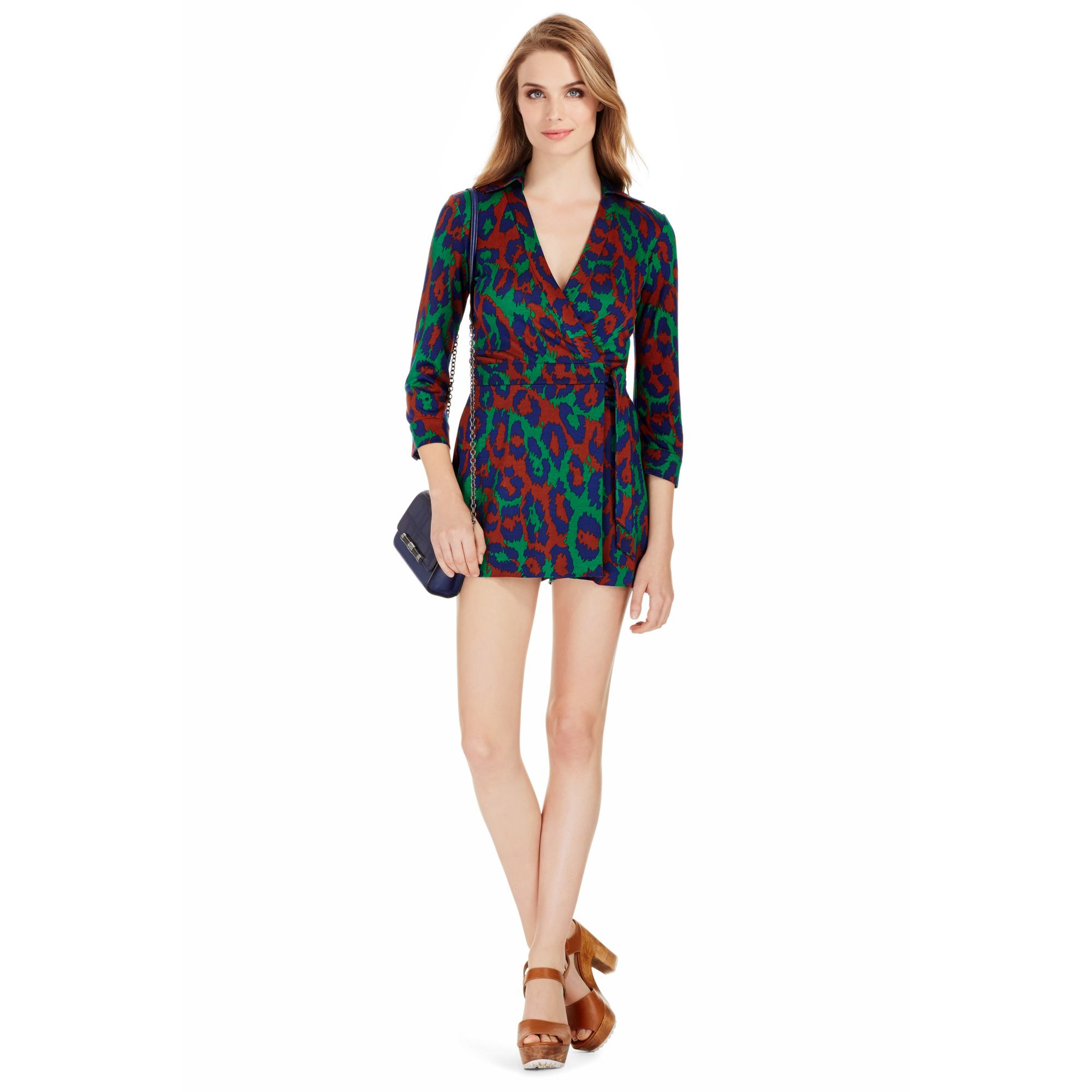 1444762f9b0 Diane von Furstenberg - Multicolor Celeste Silk Jersey Wrap Romper - Lyst