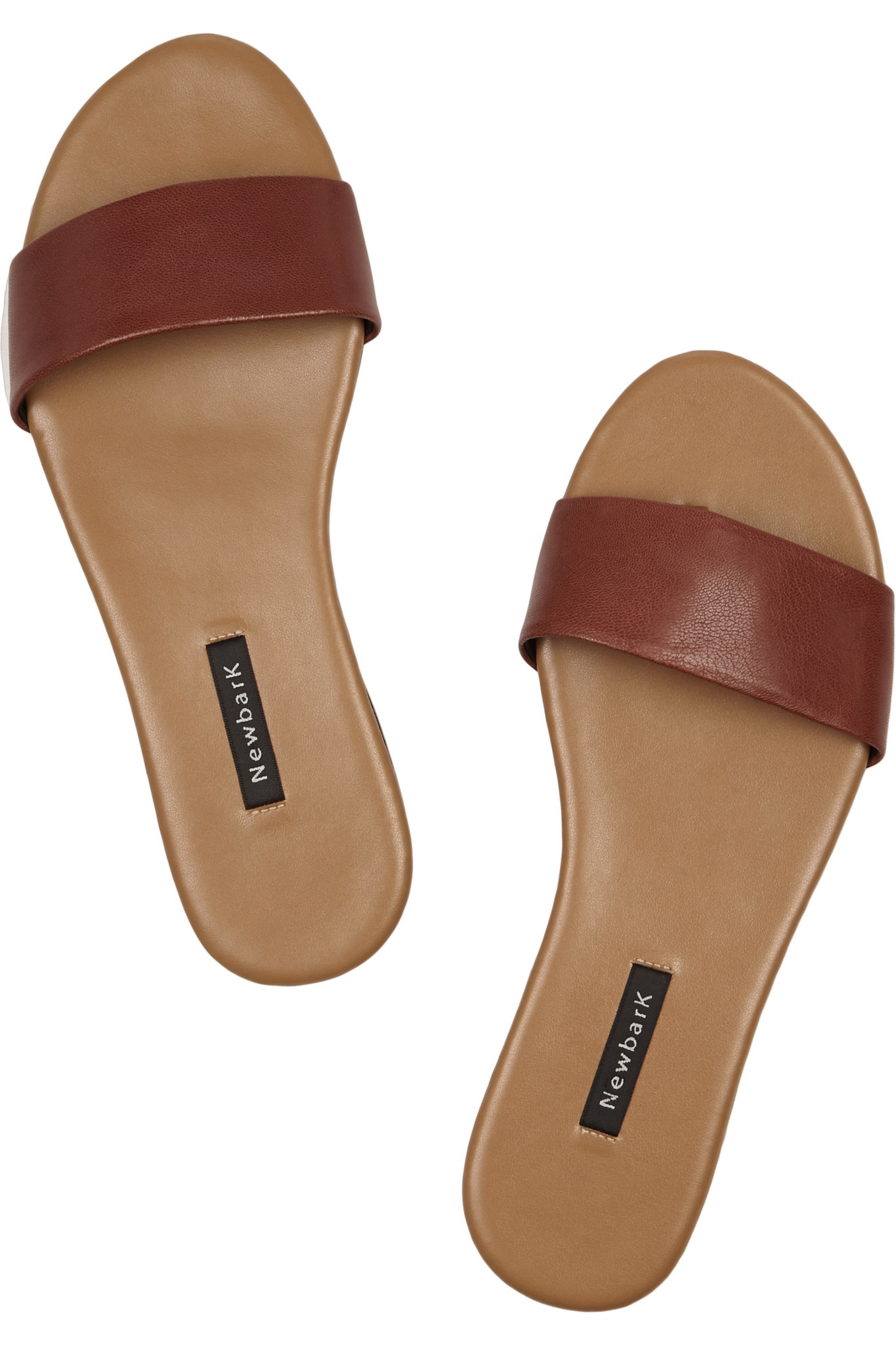 newbark roma i leather slides in brown lyst