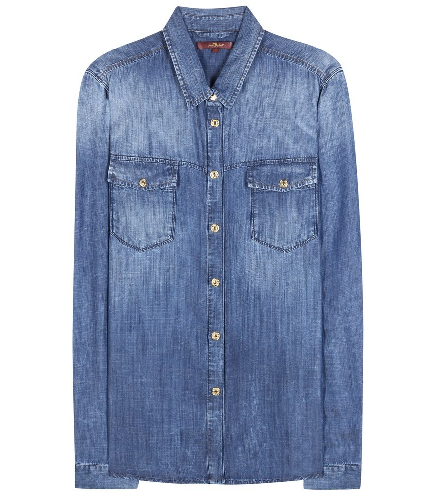 Lyst 7 for all mankind western chambray shirt in blue for Chambray 7 s