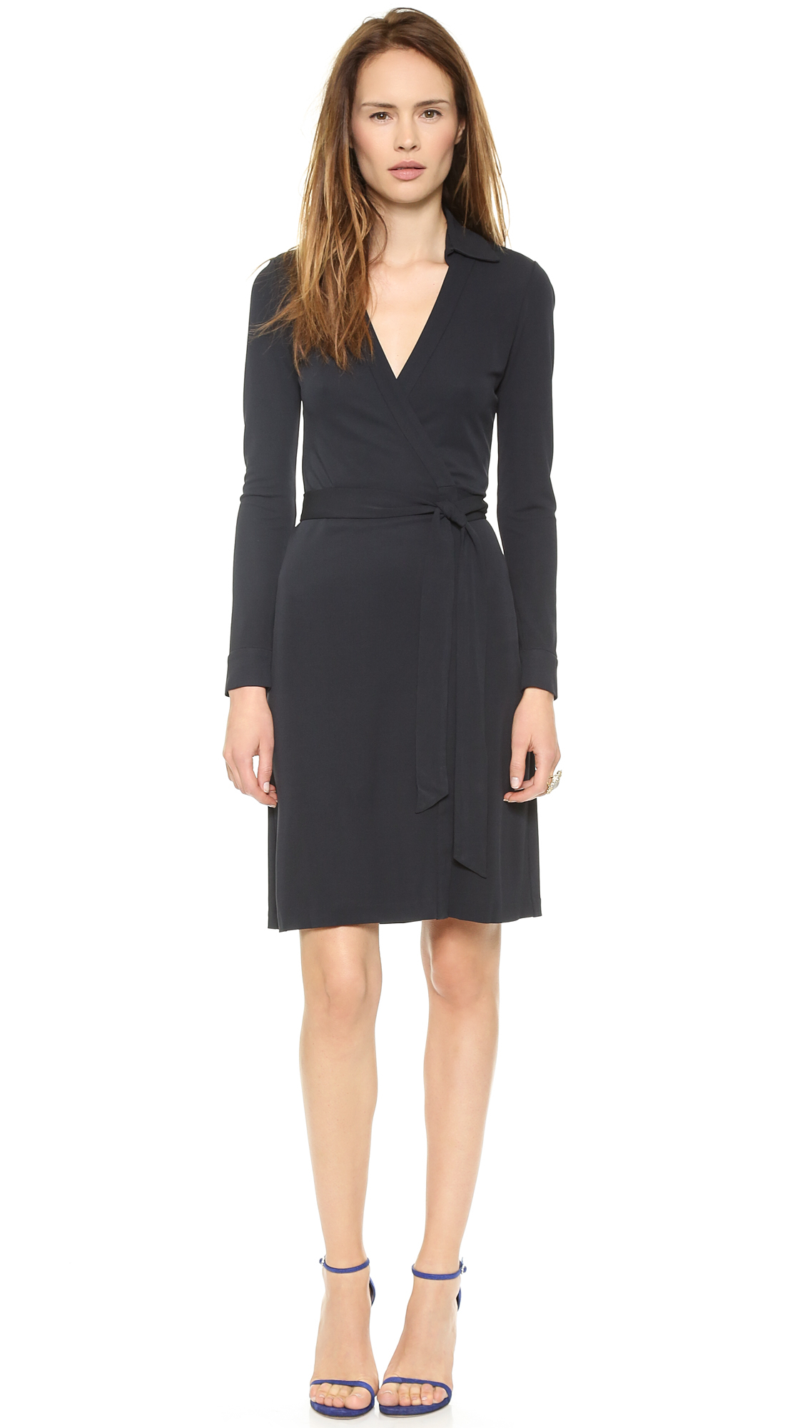 Diane von furstenberg new jeanne two wrap dress navy in for Diane von furstenberg clothes