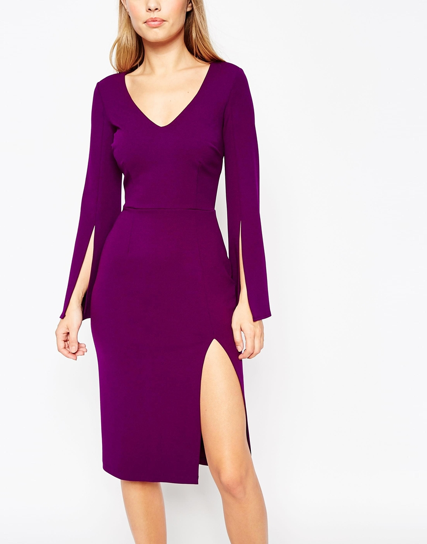 c31f64aa41 Lyst - ASOS Plunge Neck Pencil Dress in Purple