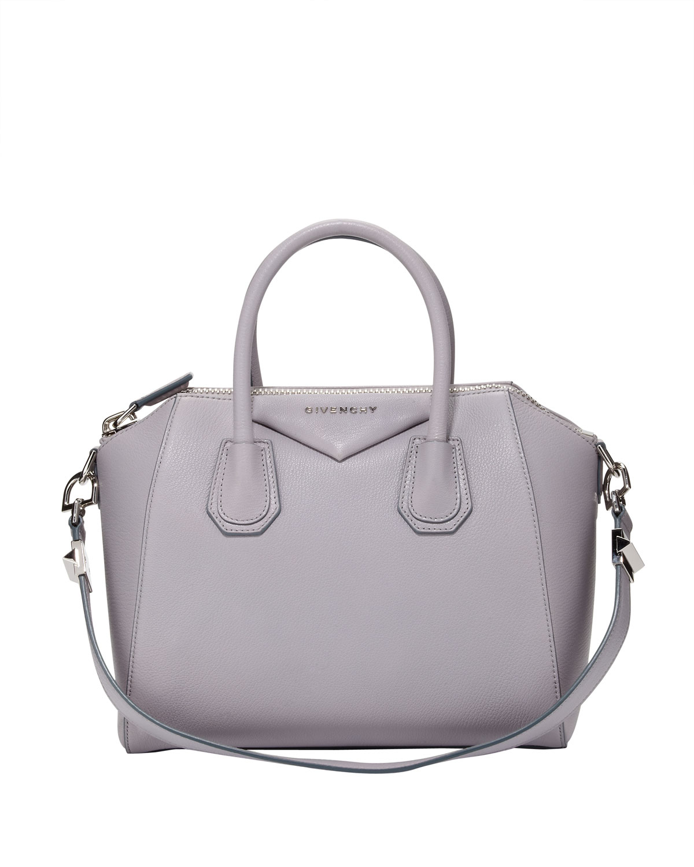 lyst givenchy antigona small sugar goatskin satchel bag light gray in gray. Black Bedroom Furniture Sets. Home Design Ideas