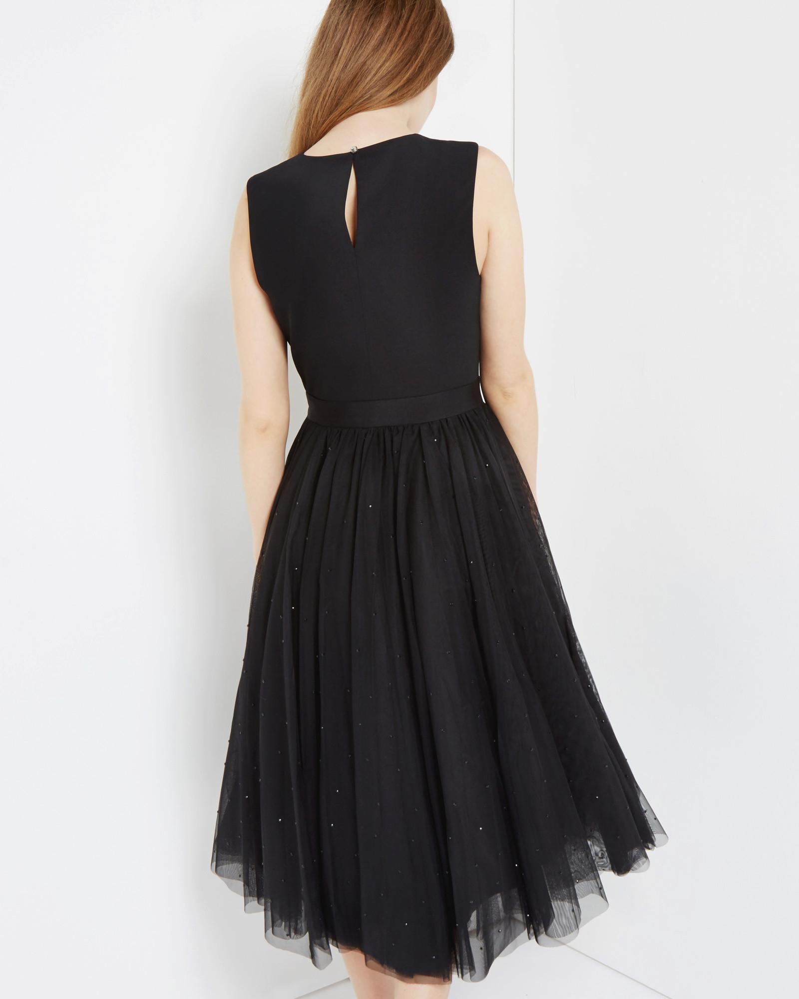 Lyst Ted Baker Embellished Full Skirt Tulle Dress In Black