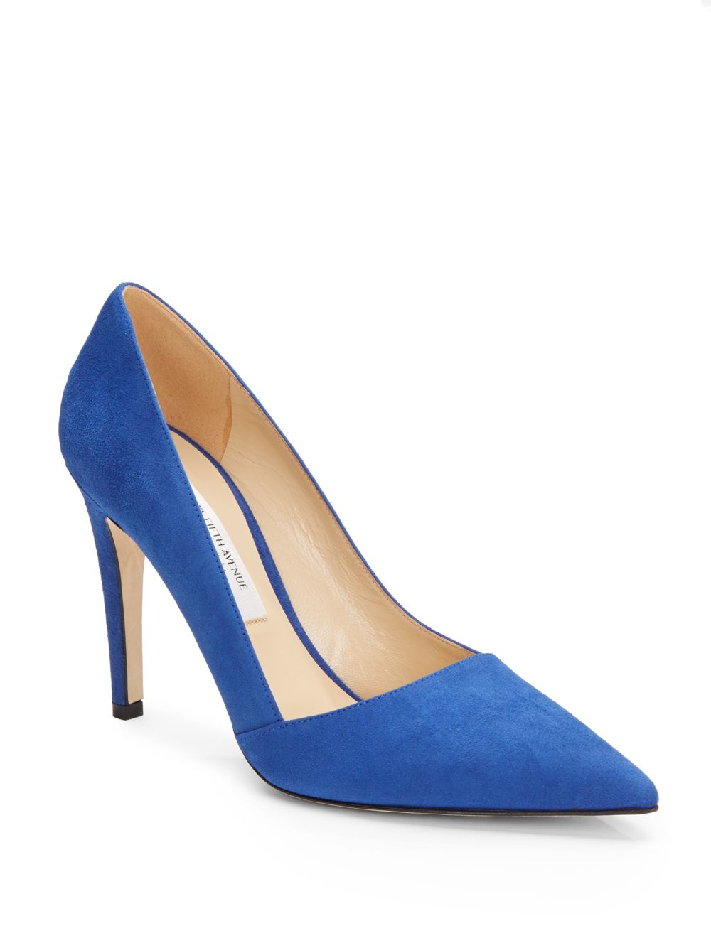 saks fifth avenue erika suede point toe in blue lyst