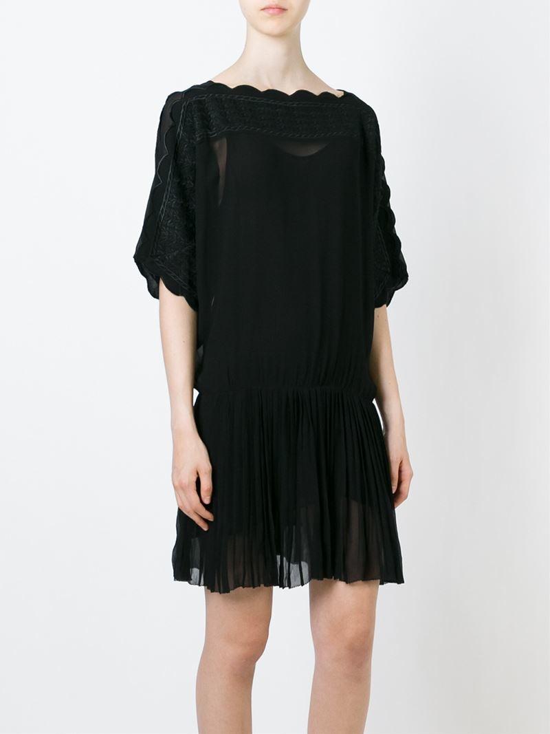 Lyst toile isabel marant bazin dress in black for Isabel marant shirt dress