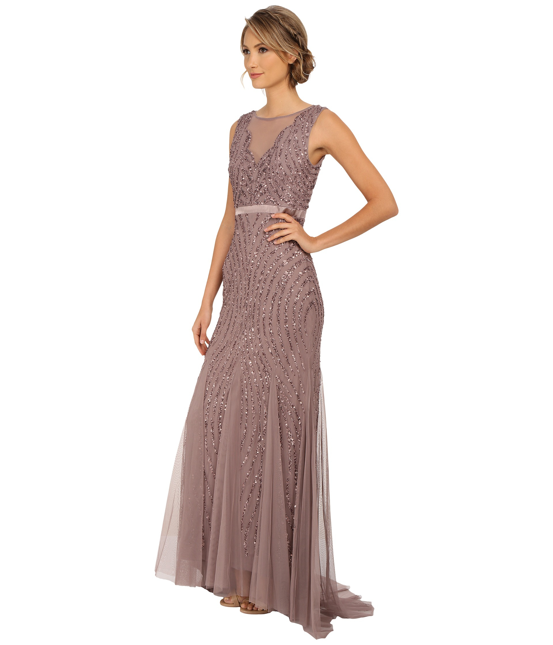 e2c015eadfd Adrianna Papell Beaded Mermaid Gown in Purple - Lyst