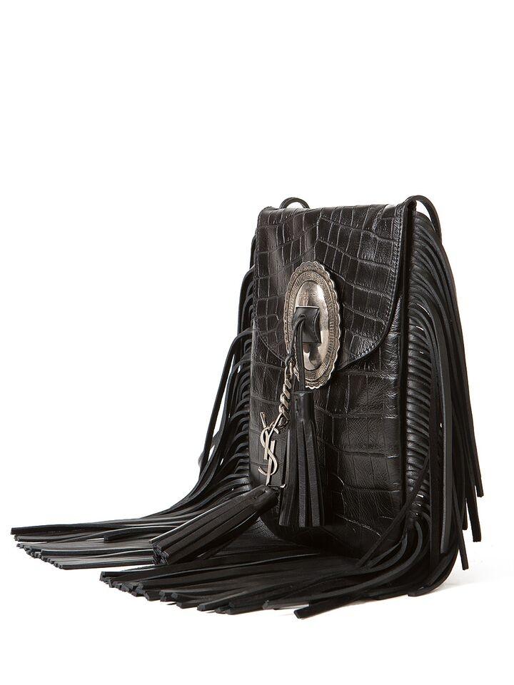 Anita Mini Flat Shoulder Bag W/Fringe, Tan