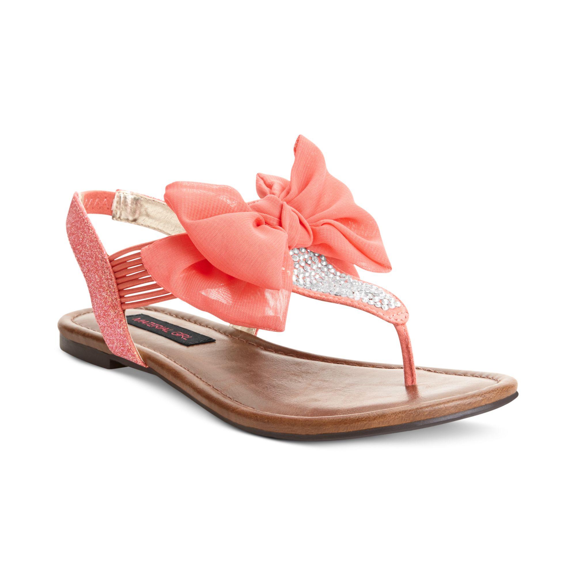 material girl skylar flat sandals in pink coral lyst. Black Bedroom Furniture Sets. Home Design Ideas
