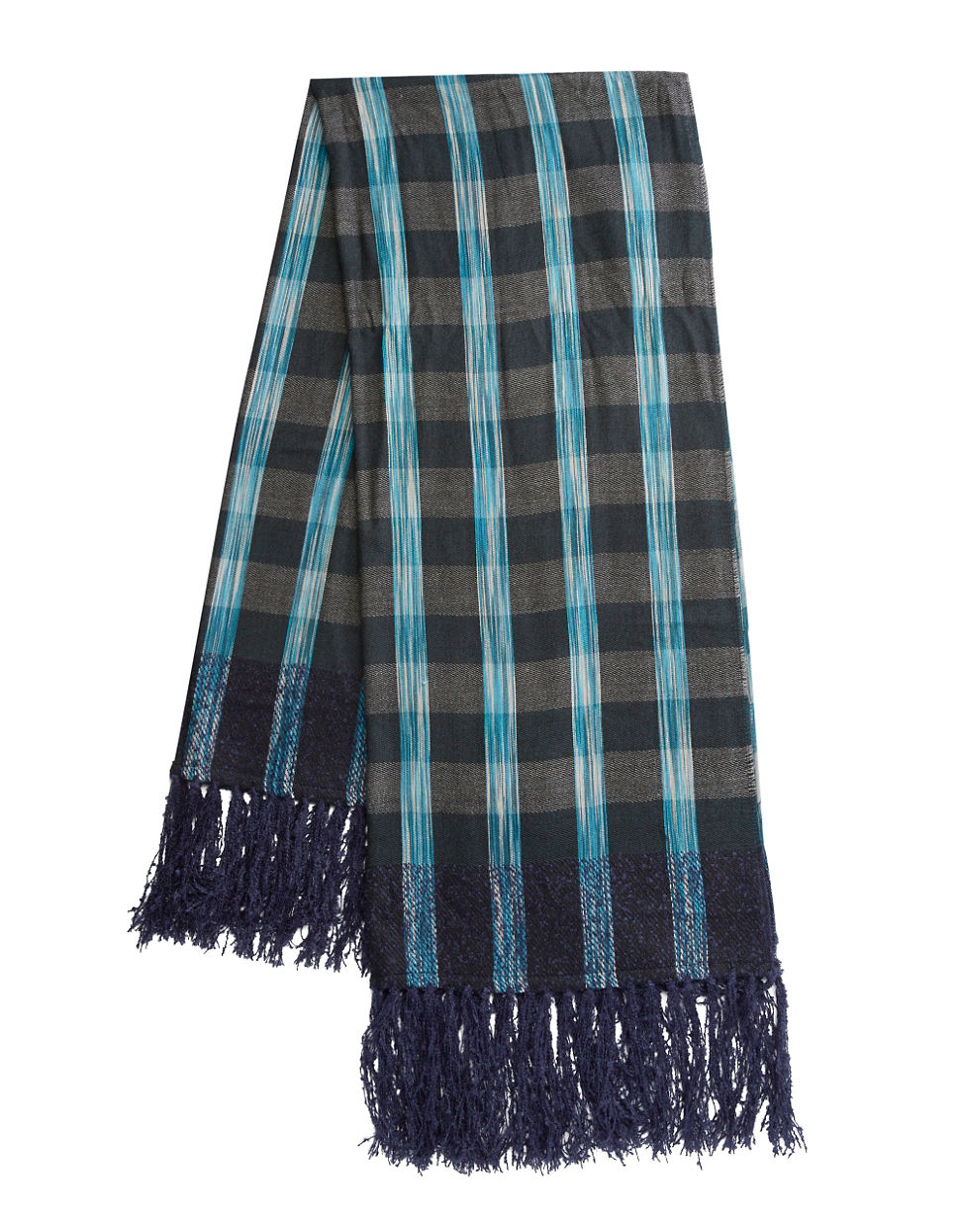 Vince camuto Plaid Knit Scarf in Blue Lyst