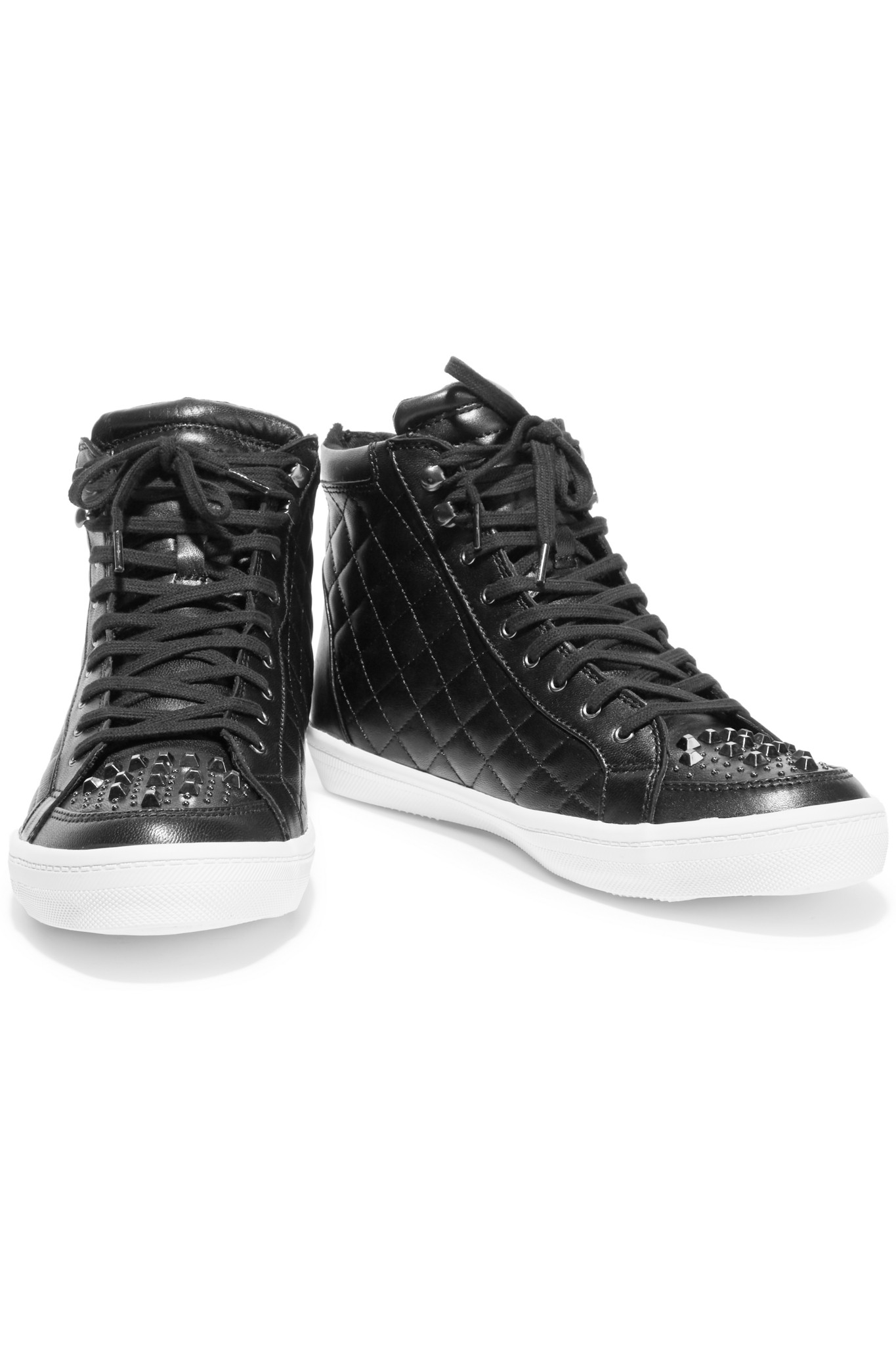 Rebecca Minkoff Sandi Studded Quilted Leather Sneakers in Black