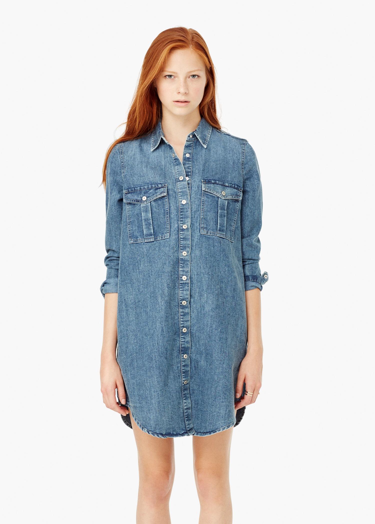 Lyst mango denim shirt dress in blue for Robe jean mango