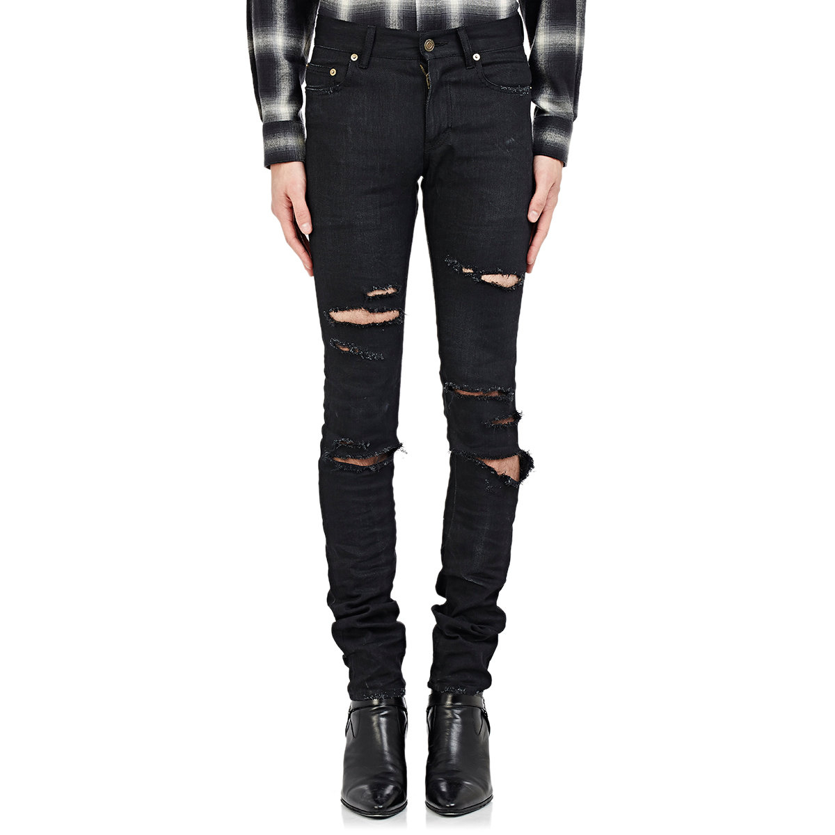 busted knee slim jeans - Black Saint Laurent Cheap Sale Sneakernews Discount Real Visa Payment Sale Online Clearance With Credit Card Sale View KRZiv3L