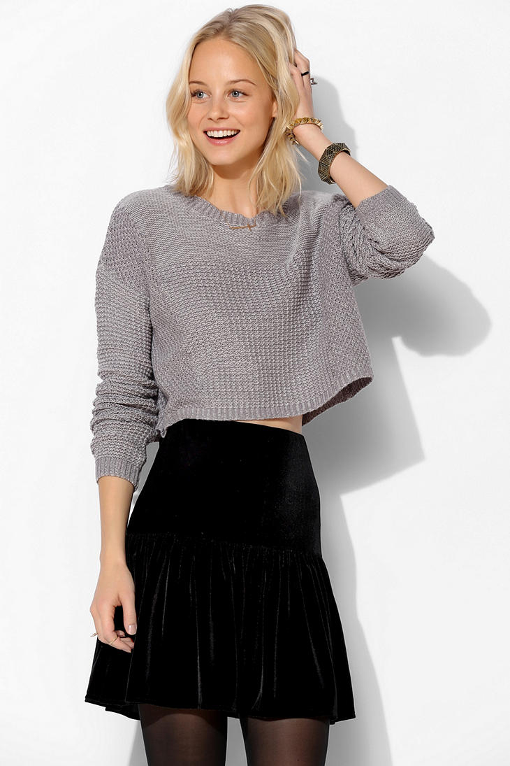 Urban outfitters Silence Noise Stitch Cropped Sweater in Gray | Lyst