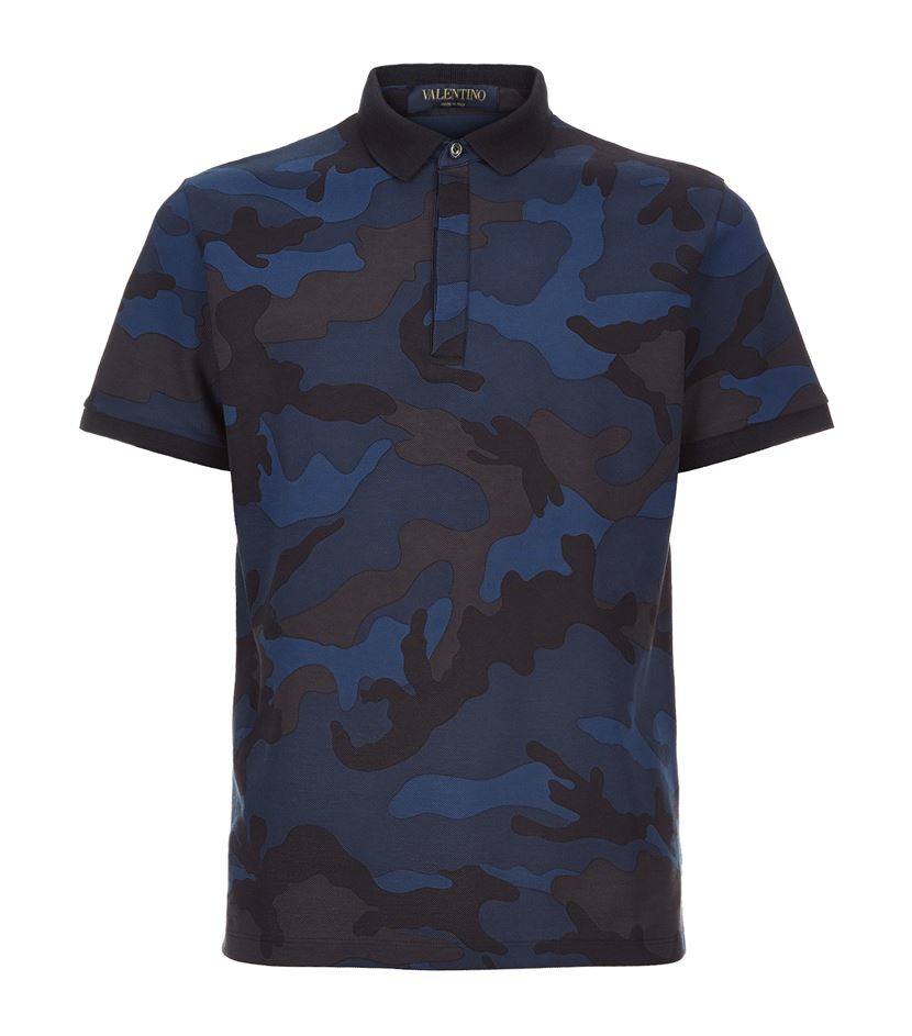 valentino camo polo shirt in blue for men lyst