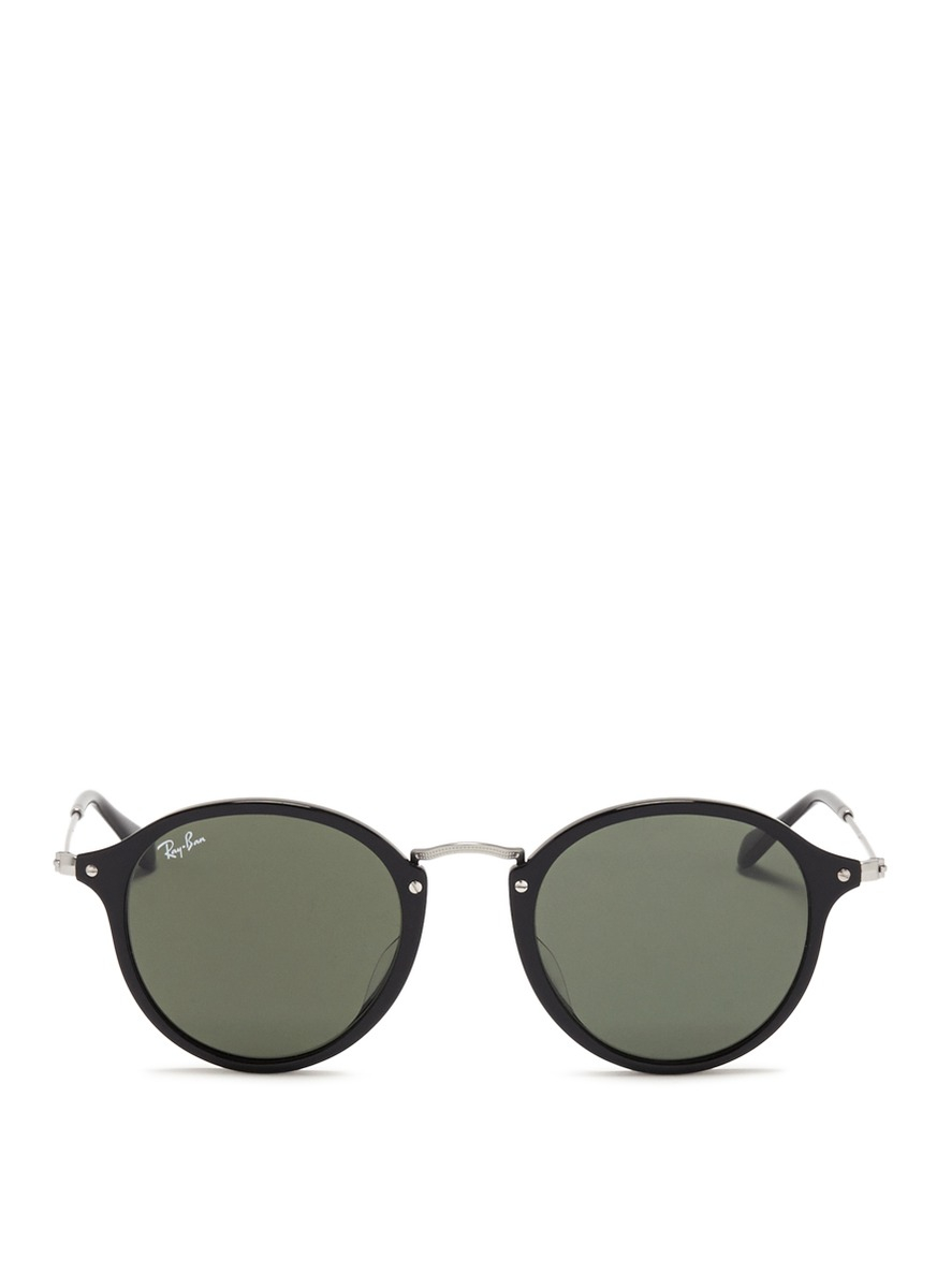 Lyst - Ray-Ban Acetate Wire Temple Round Frame Sunglasses in Black