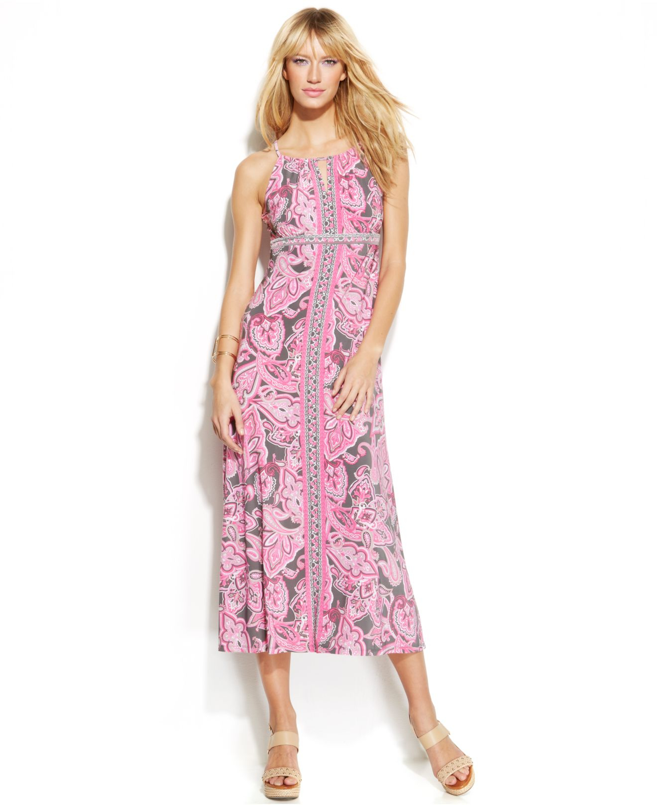 INC International Concepts Pink Petite Paisley-Print Halter Maxi Dress
