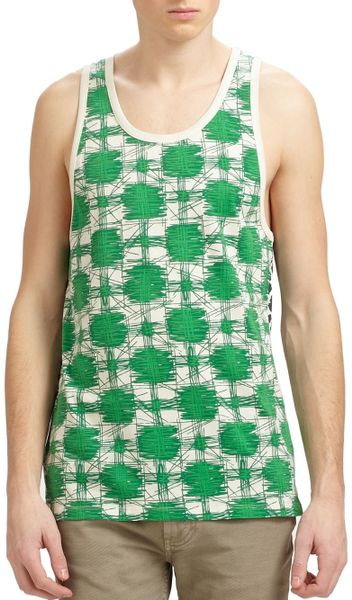 Marc By Marc Jacobs Green Multicolor Sam Cheetah Tank Top in Green for Men