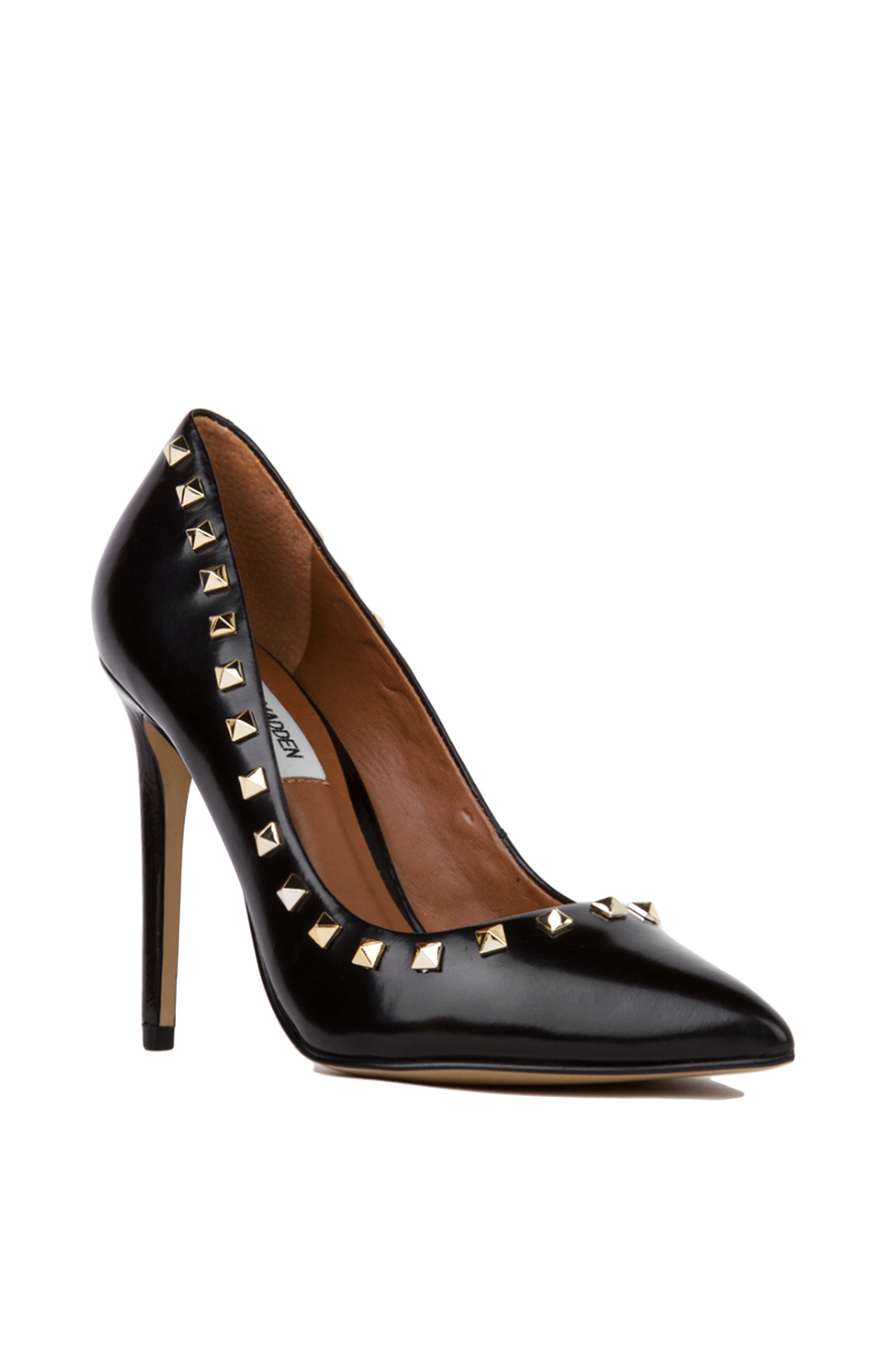86e1a05f23b Lyst - Steve Madden Proto Pointed Toe Studded Pumps - Black gold in ...