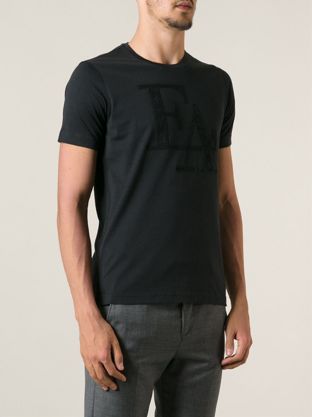 emporio armani embroidered logo t shirt in black for men. Black Bedroom Furniture Sets. Home Design Ideas
