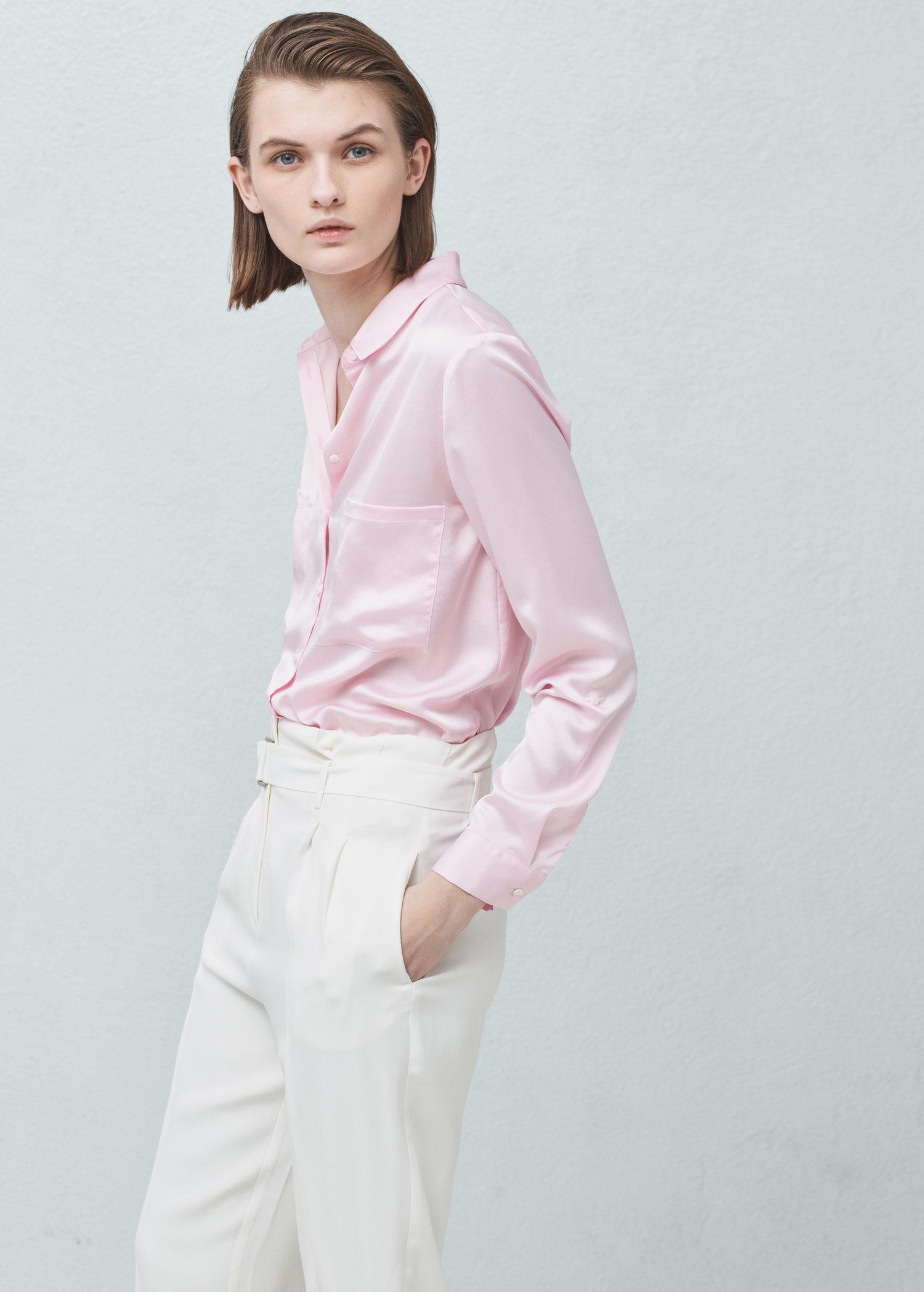 Mango Pockets Flowy Shirt in Pink | Lyst