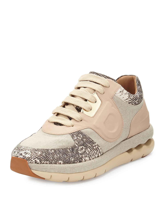 24cf06d790 Lyst - Ferragamo Morgan Linen   Leather Sneaker in Natural