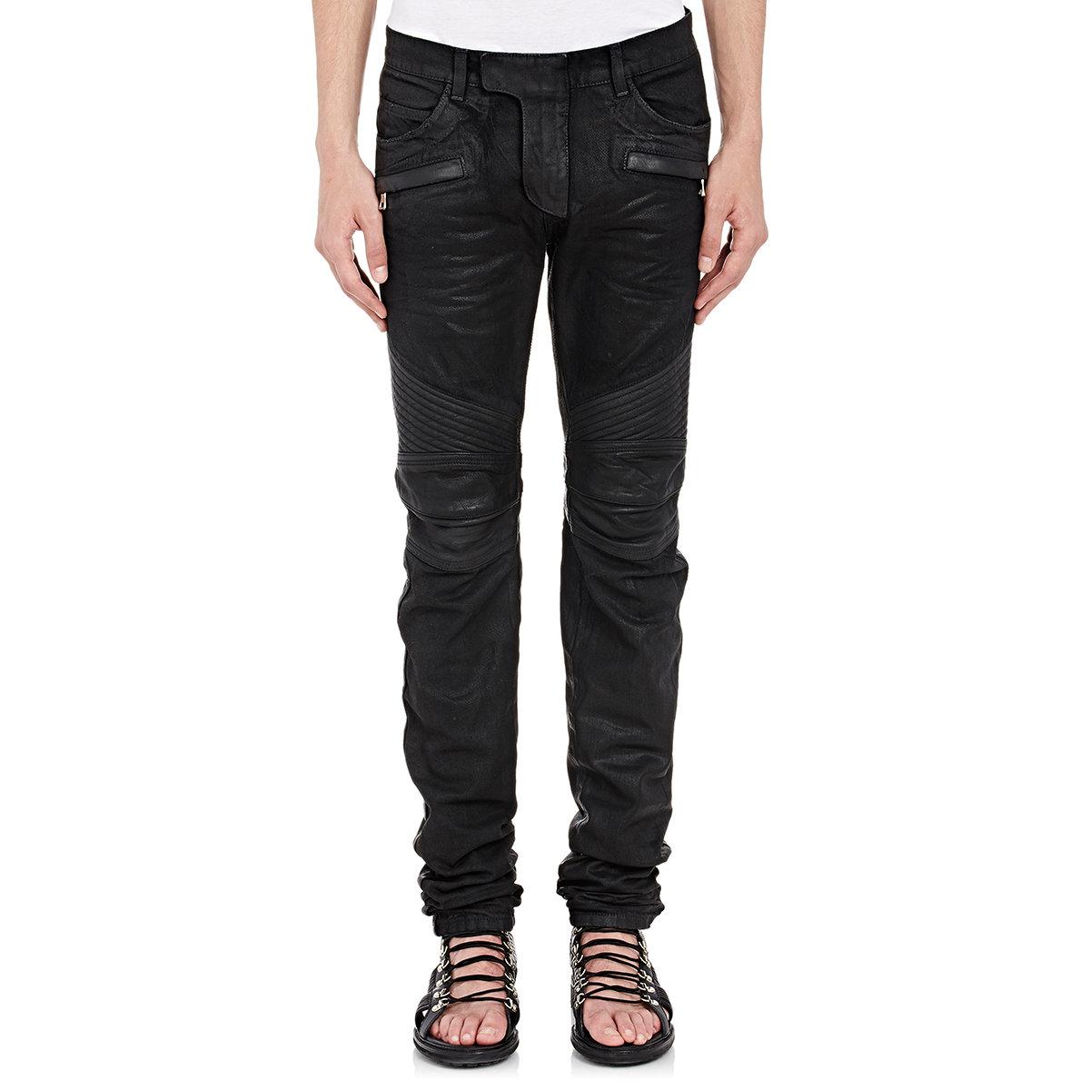 balmain waxed denim moto jeans in black for men lyst. Black Bedroom Furniture Sets. Home Design Ideas