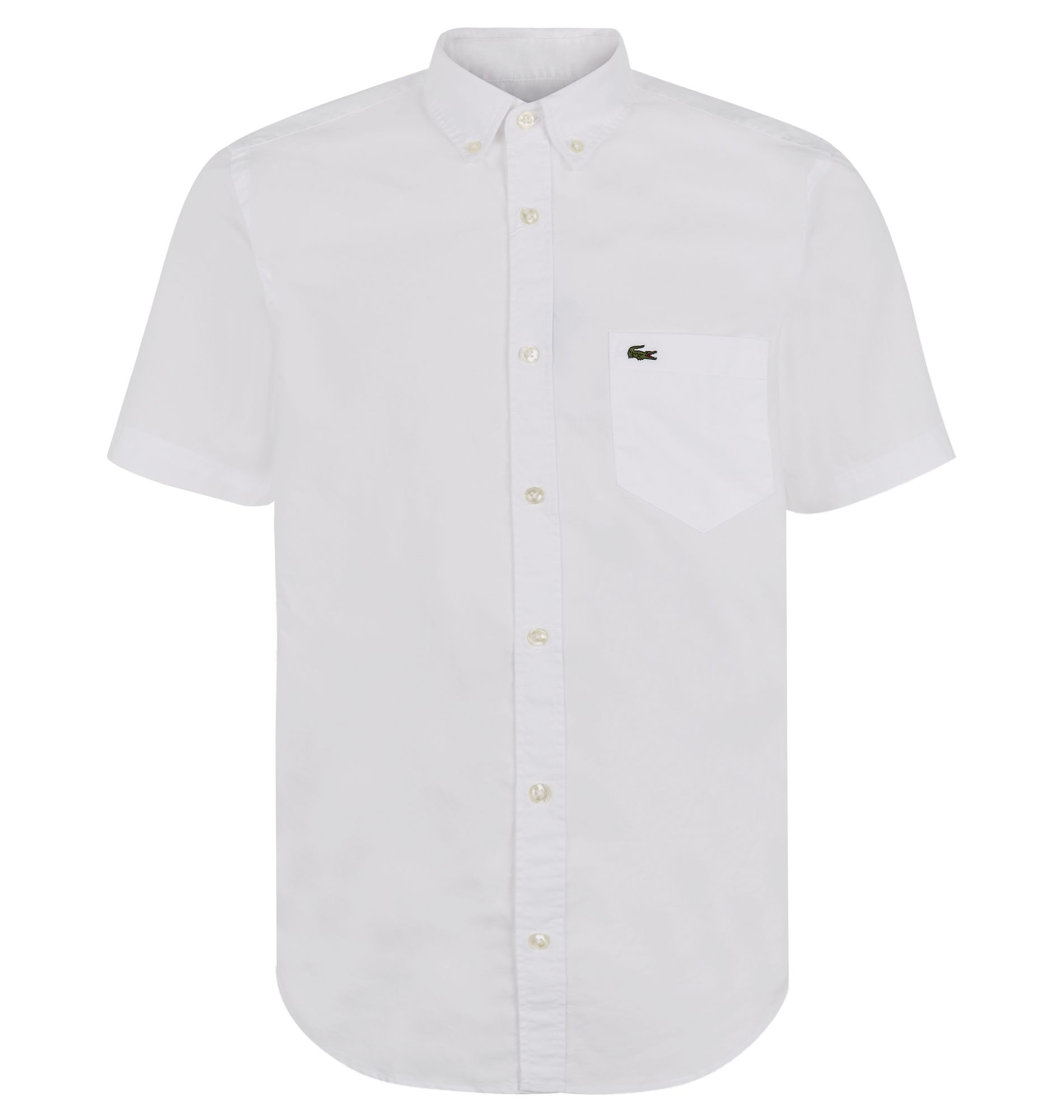 Lacoste Plain Short Sleeve Button Down Shirt in White for Men | Lyst