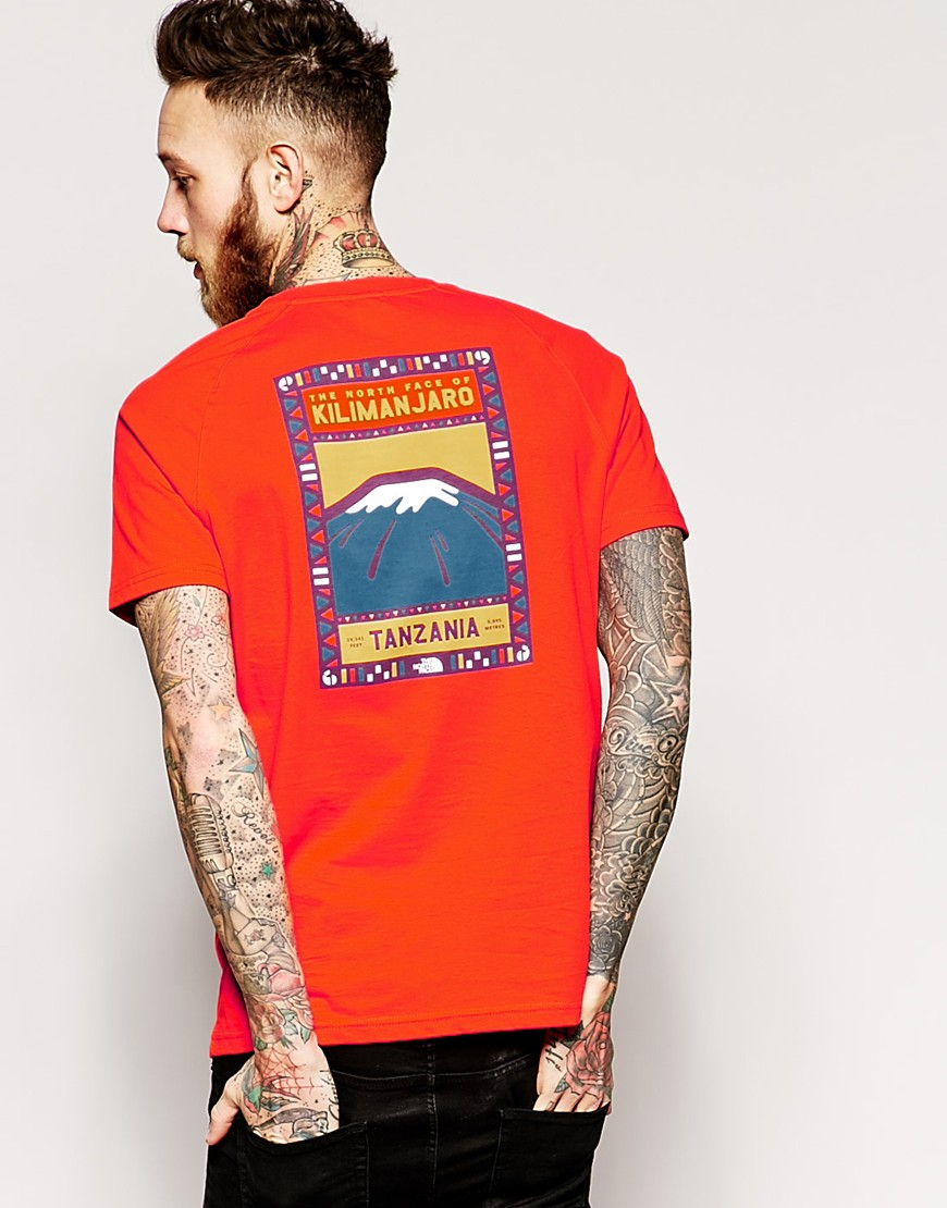 a5a2fb3eb The North Face Orange T-shirt With Kilimanjaro Back Print for men