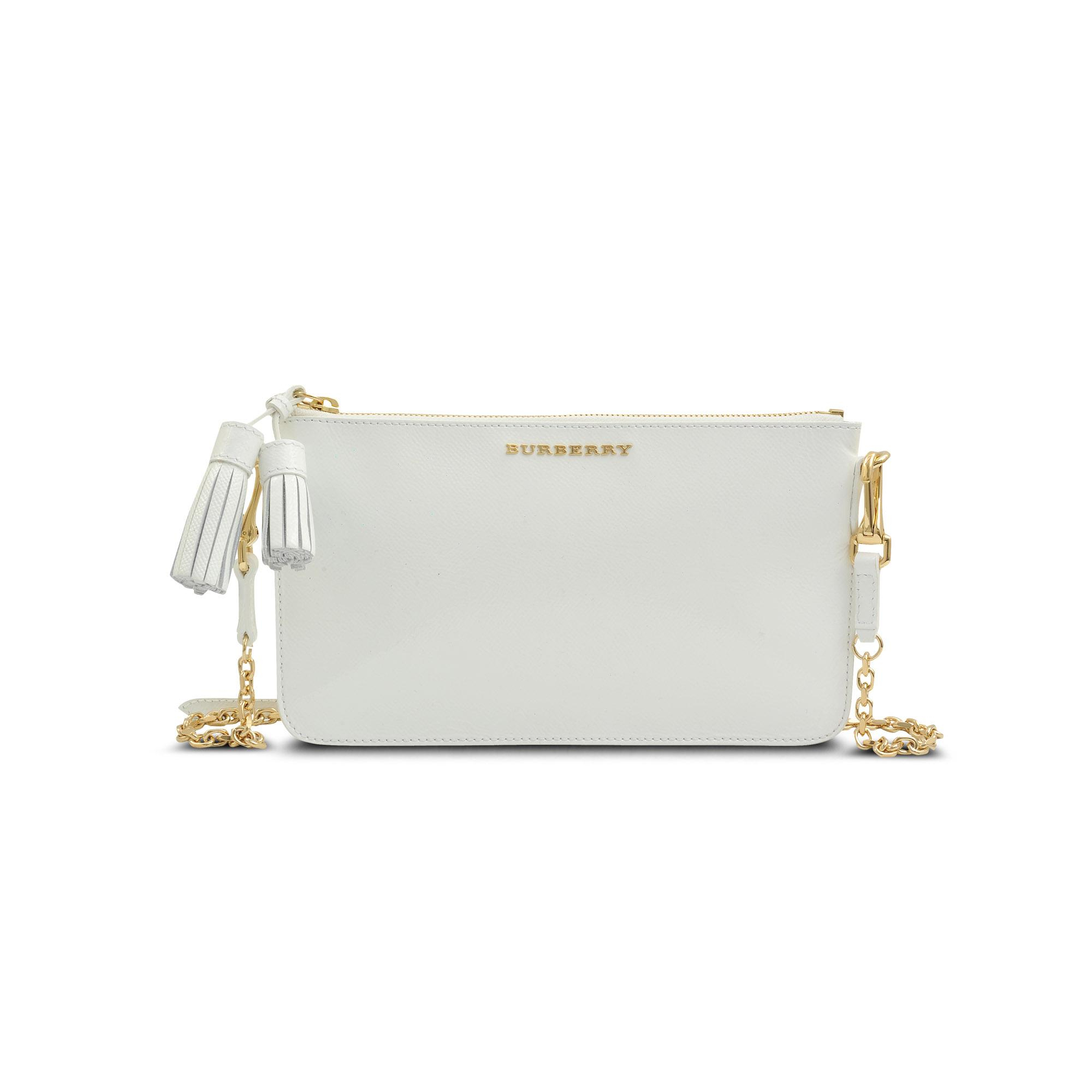 Burberry Peyton Clutch in White - Lyst a959e6d024732