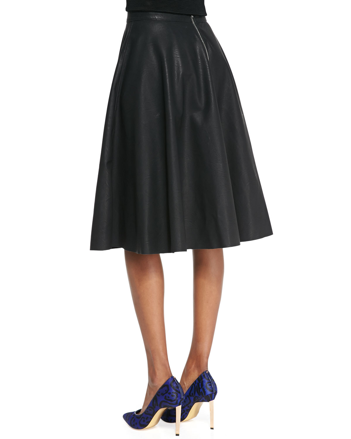 connection faux leather godet pleated skirt in
