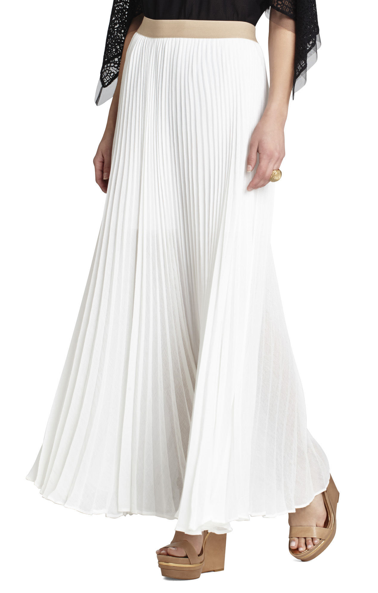 bcbgmaxazria esten sunburst pleated maxi skirt in white lyst